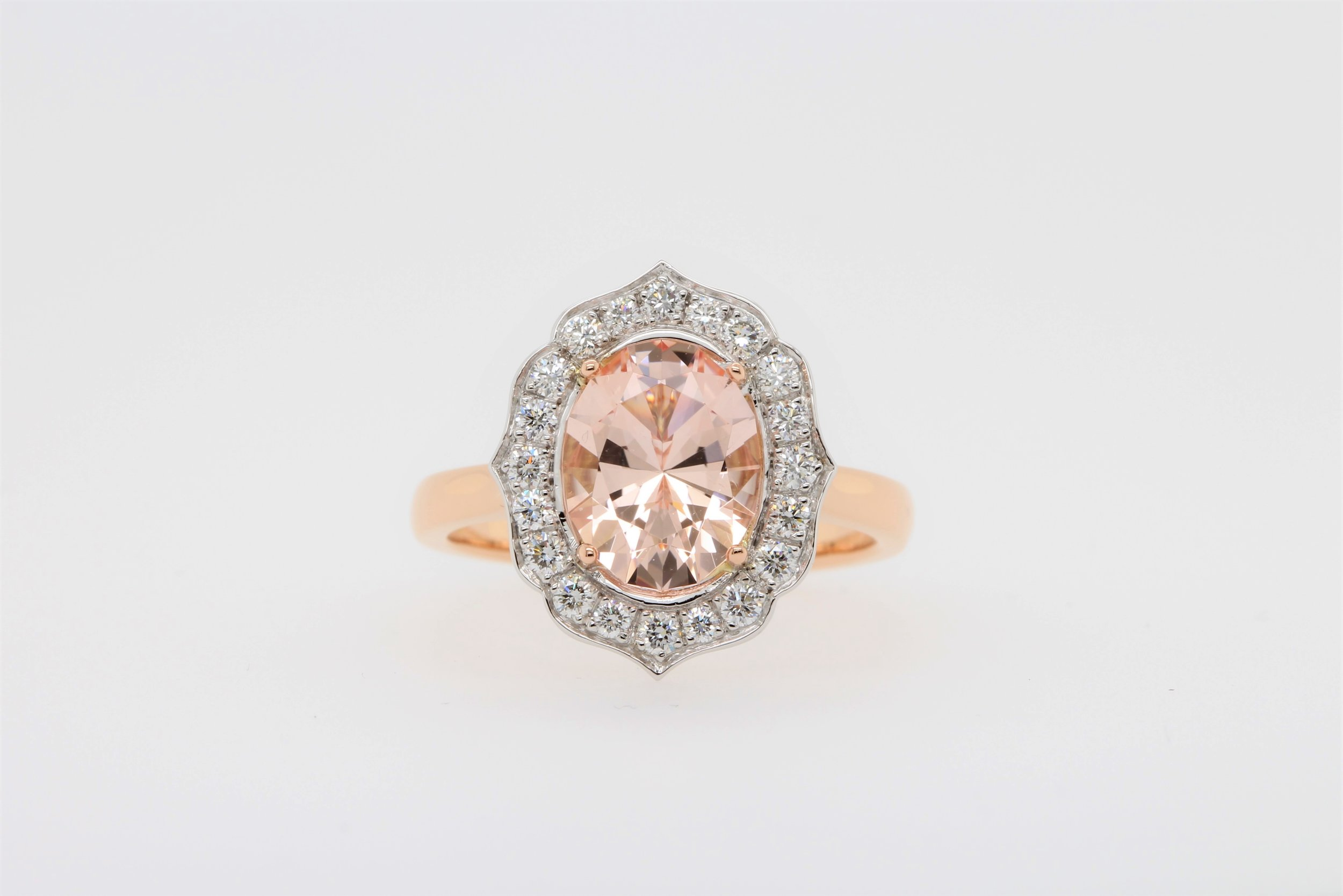 Stephanie and Joel's complete Morganite and Diamond Engagement Ring.