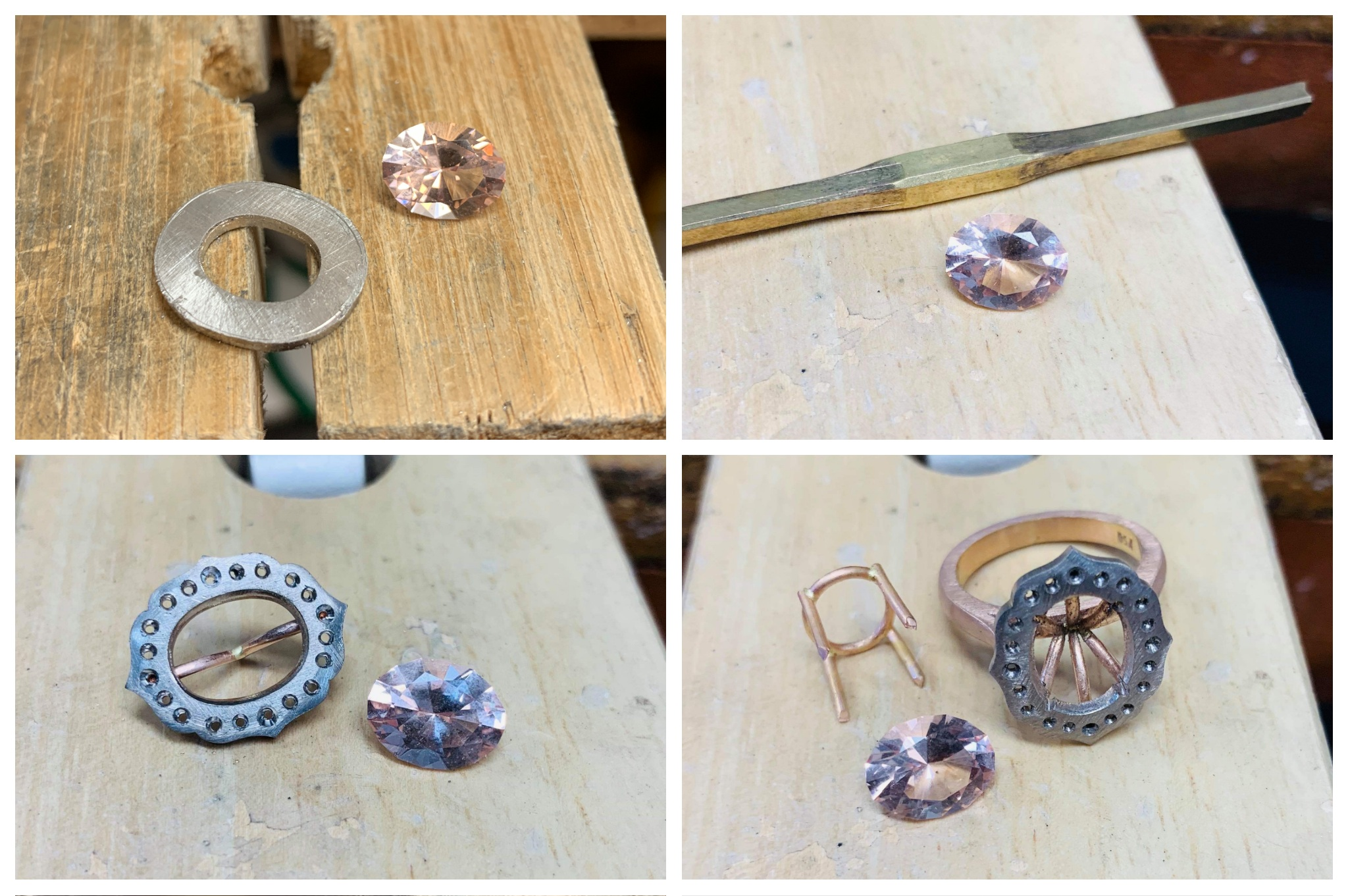 From the workshop, creating Stephanie and Joel's vintage inspired engagement ring frame.