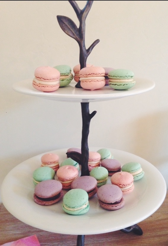 Custom color matched French Macarons with tea inspired fillings.