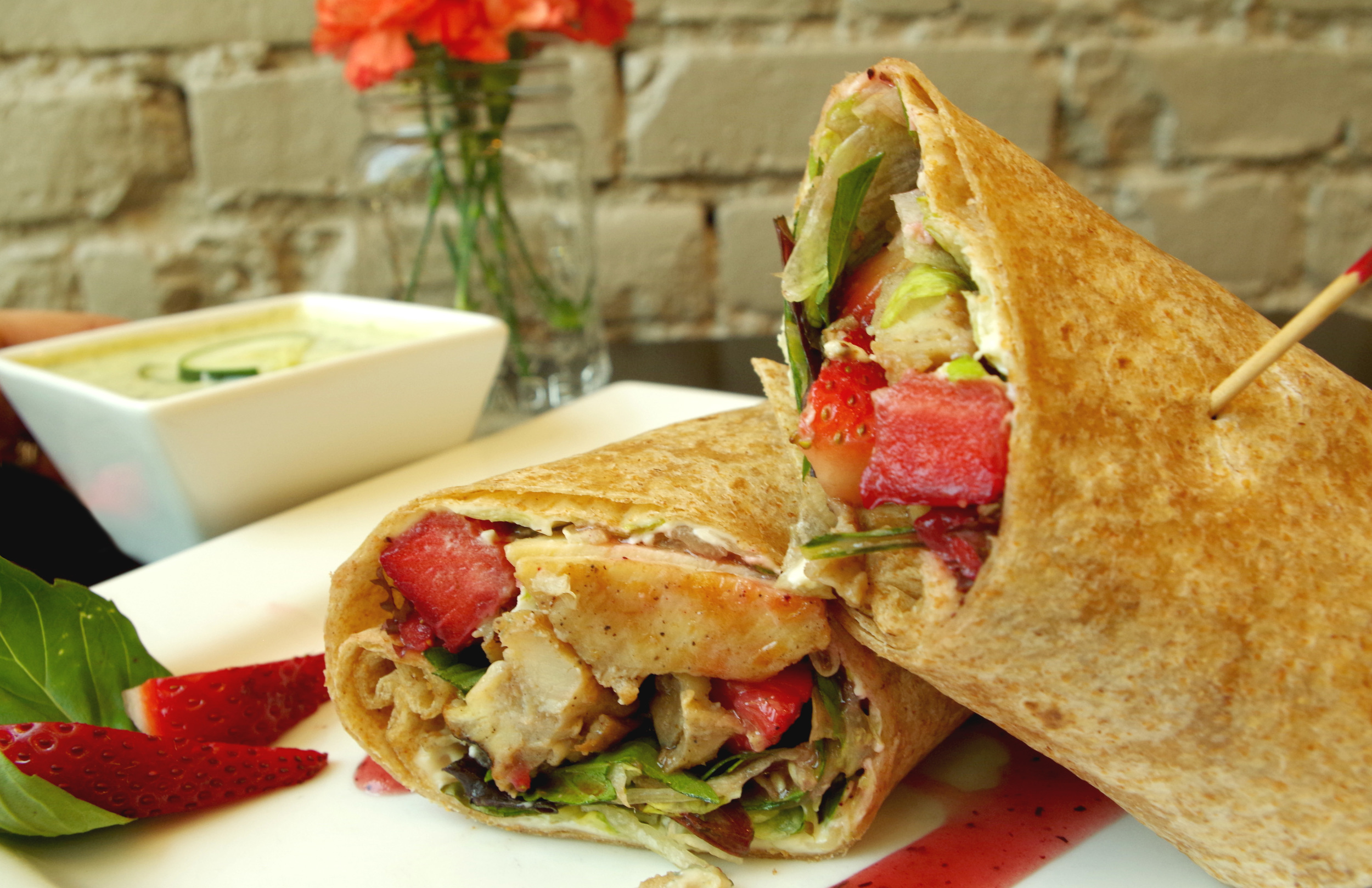 Strawberry Basil Wrap & Cold Cucumber Soup