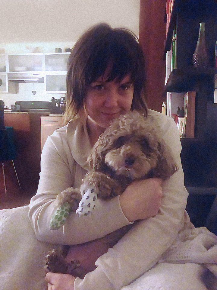 Nikki and Milo, snuggling after one of Milo's many medical treatments.