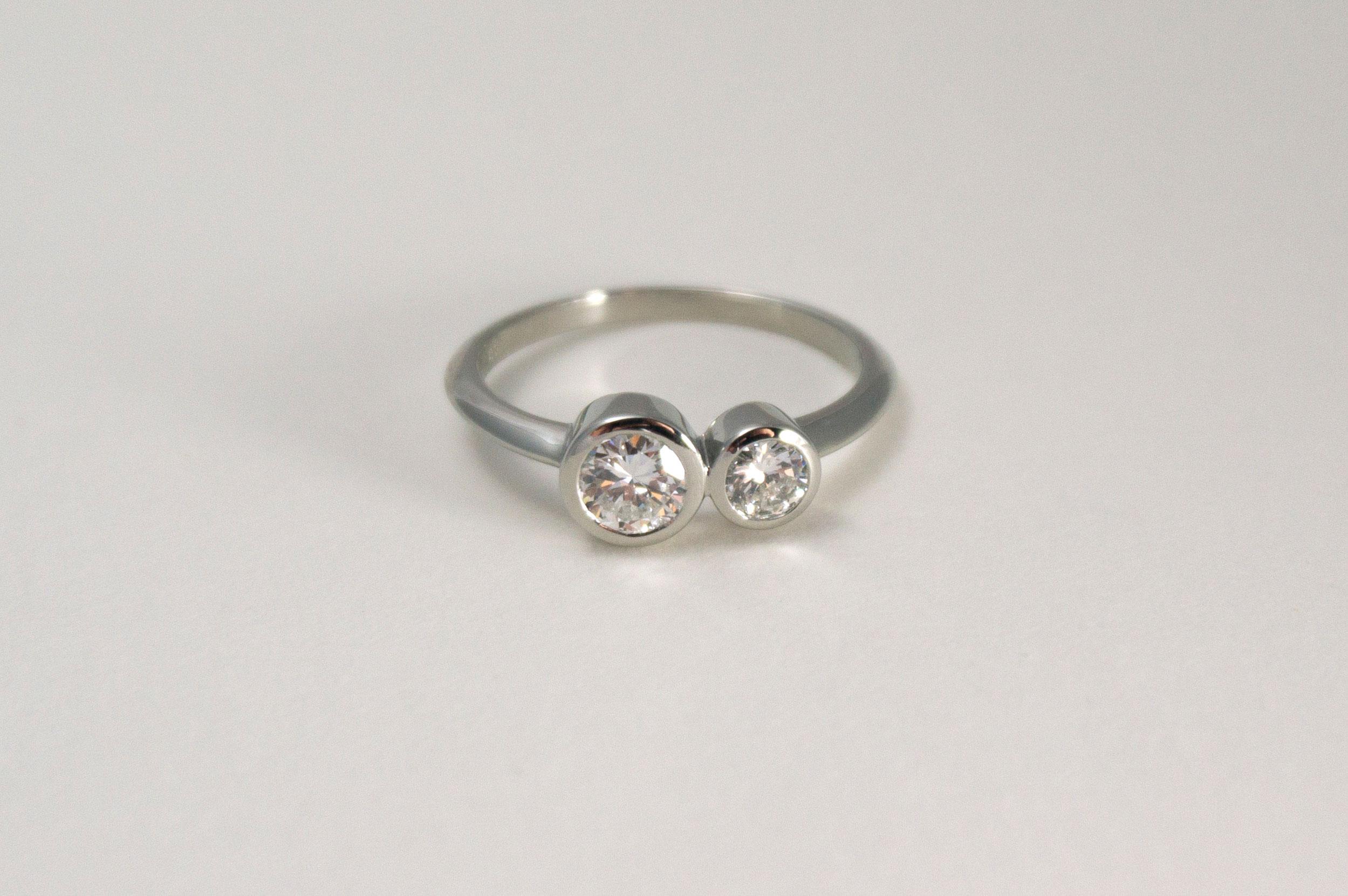 LORI Engagement Ring:  bezel set heirloom diamonds, knife edge band, 14k white gold.