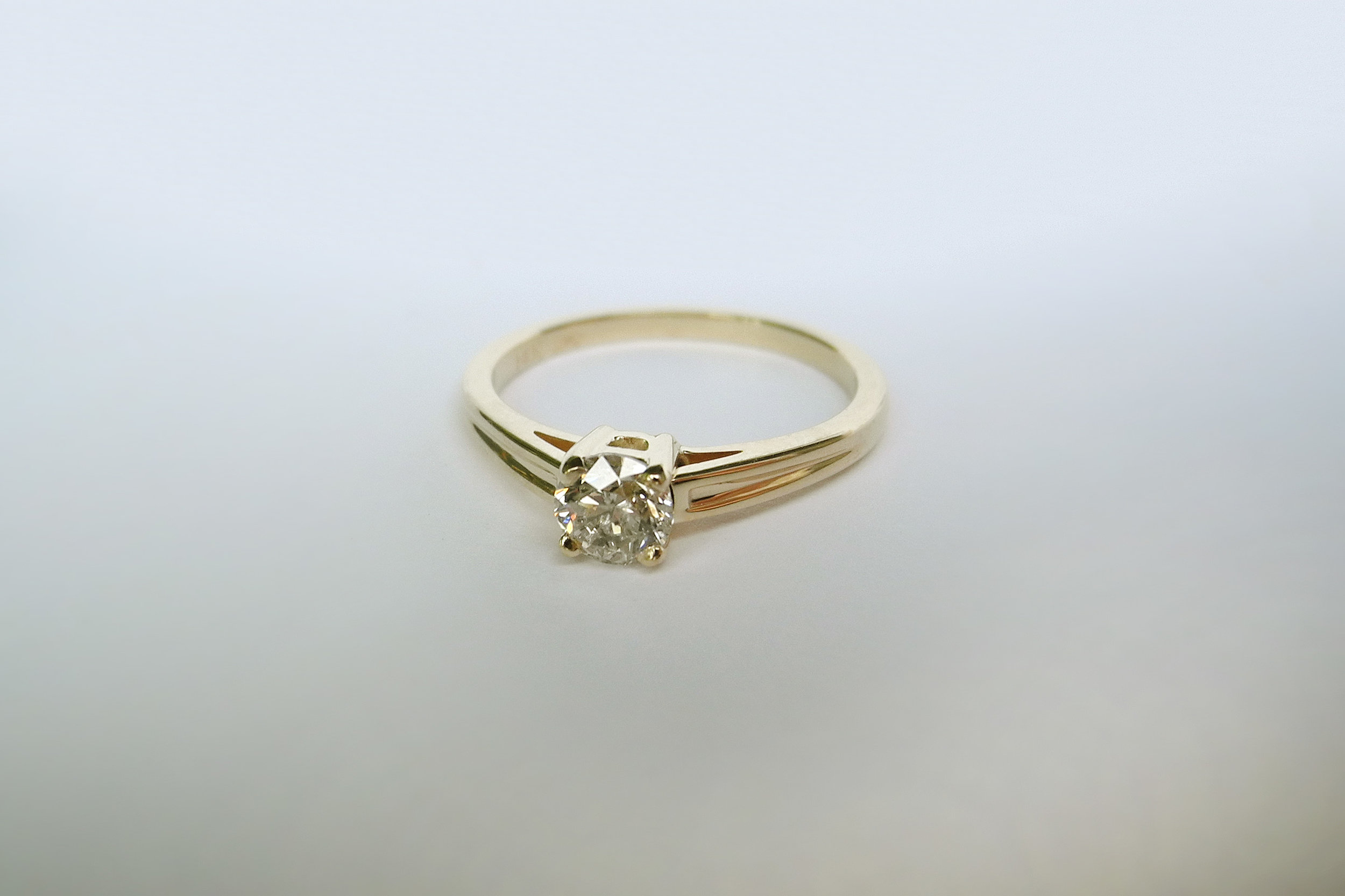 ZOE Engagement Ring:  ethically-sourced champagne diamond, 14k yellow gold.