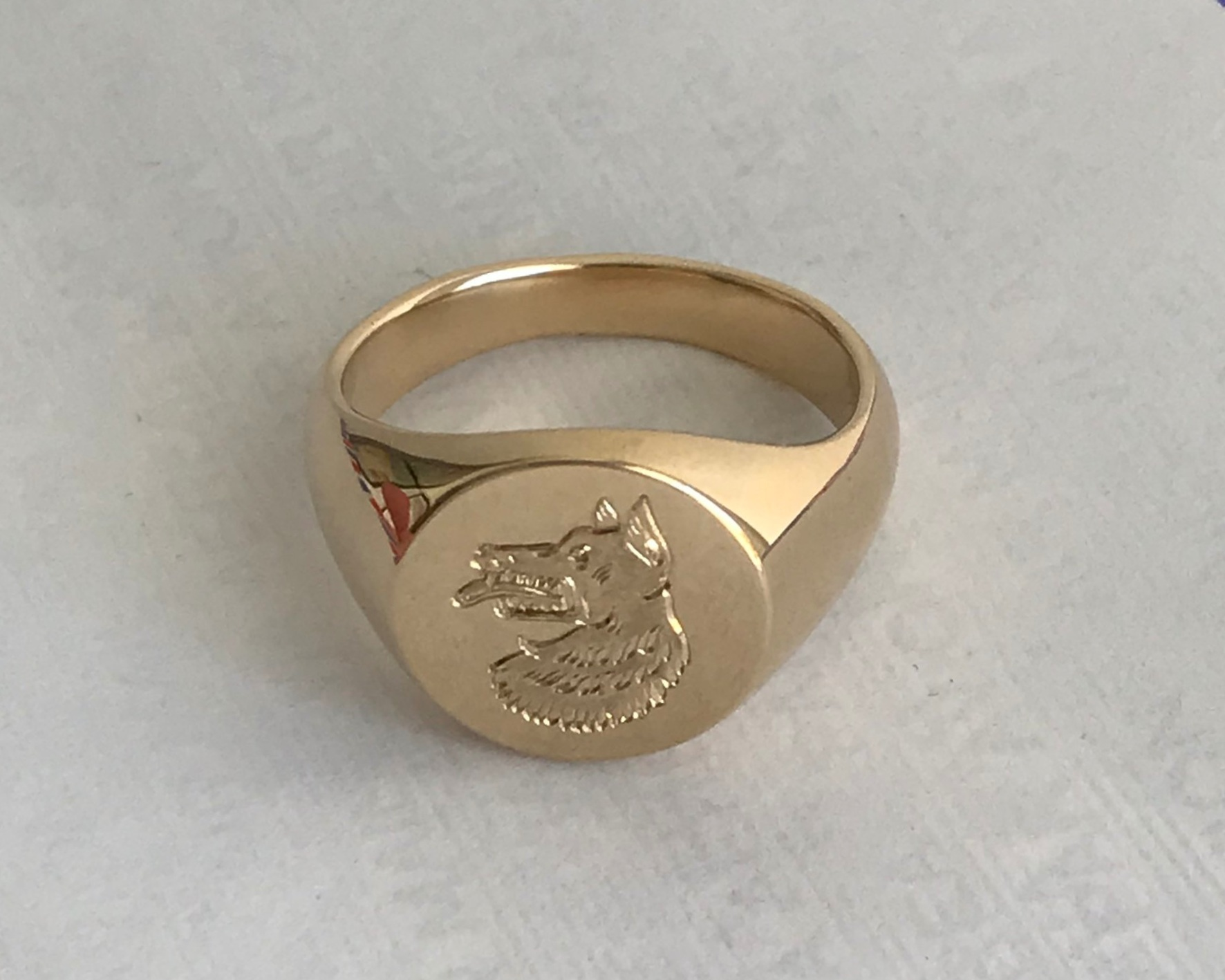 WOLFE Signet Ring:  hand-carved, hand-engraved, 14k yellow gold.
