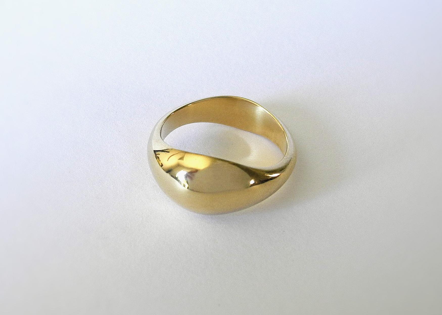 DAVID Wedding Ring:  Hand-carved custom shape, 18k yellow gold.
