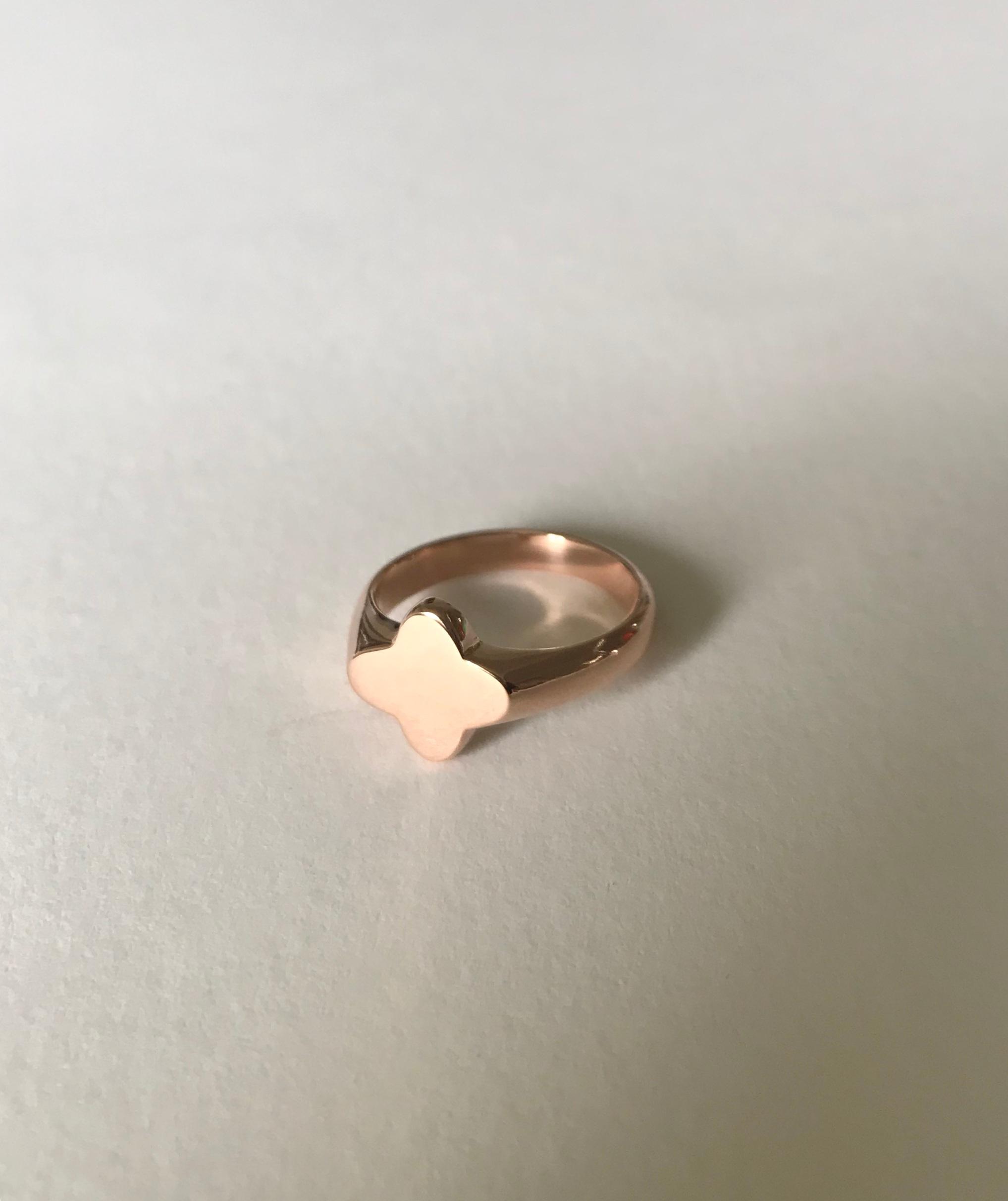 ANNE Clover Pinkie Signet Ring:  hand-carved,   14k rose gold.
