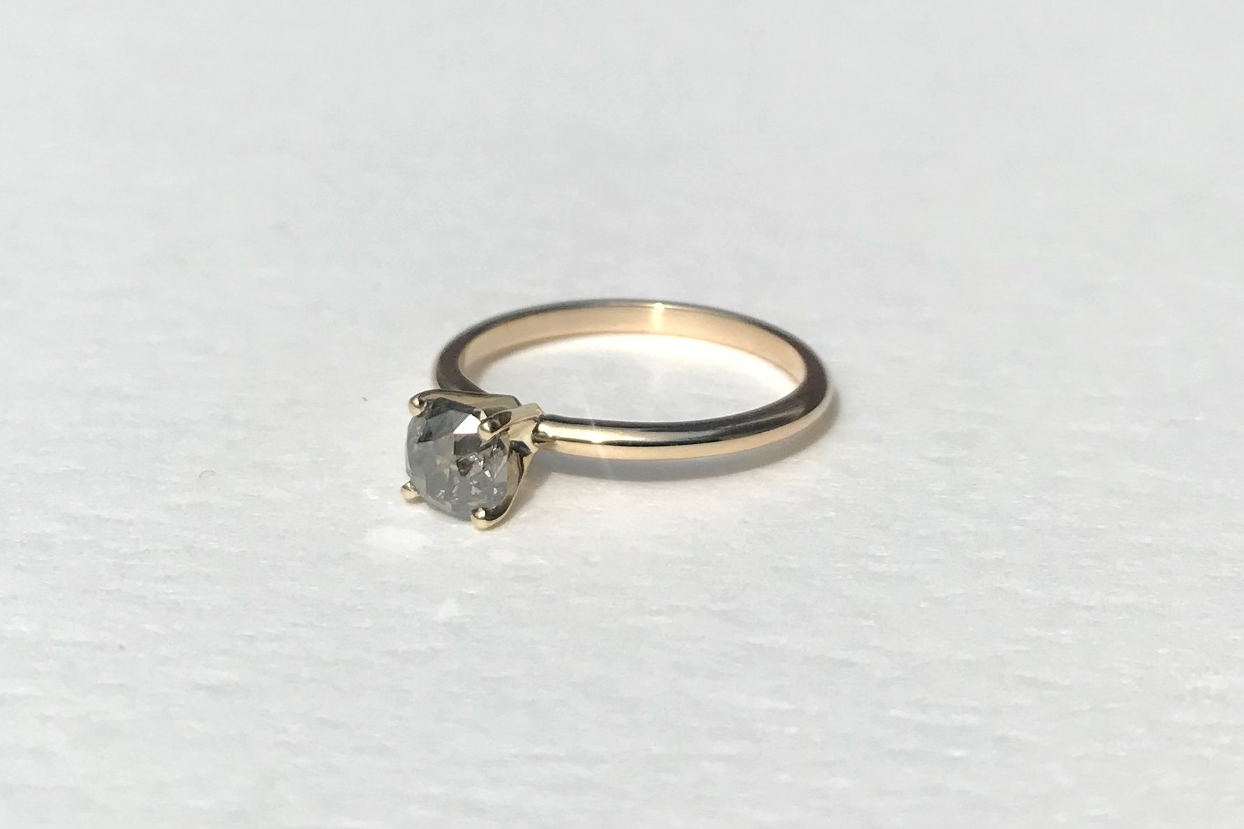 SYLWIA Engagement Ring:  ethically-sourced, cushion-cut salt and pepper diamond, 14k yellow gold.