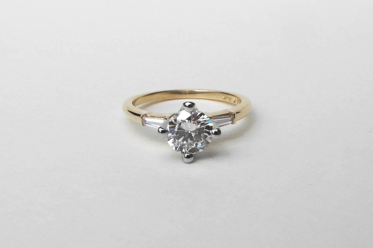 SHAN Engagement Ring:  Heirloom diamond, 14k yellow gold band, 14k white gold setting and baguette diamond side stones.