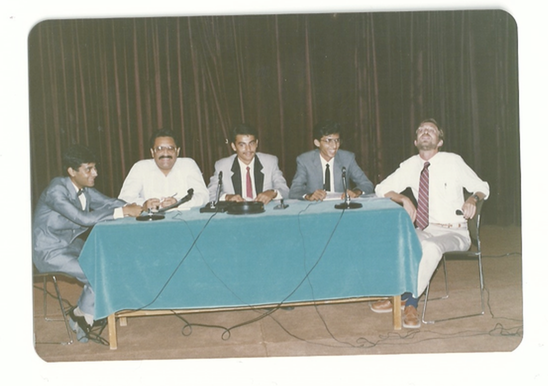 September 1988: Amastropak teleconference with Dr. Christopher McKay. Panelists from left to right: Salman Rashid, Arif Abbasi (Director, Karachi Planetarium), Ali Kamran, Salman Hameed, and Larry Corwin (Director, American Centre)