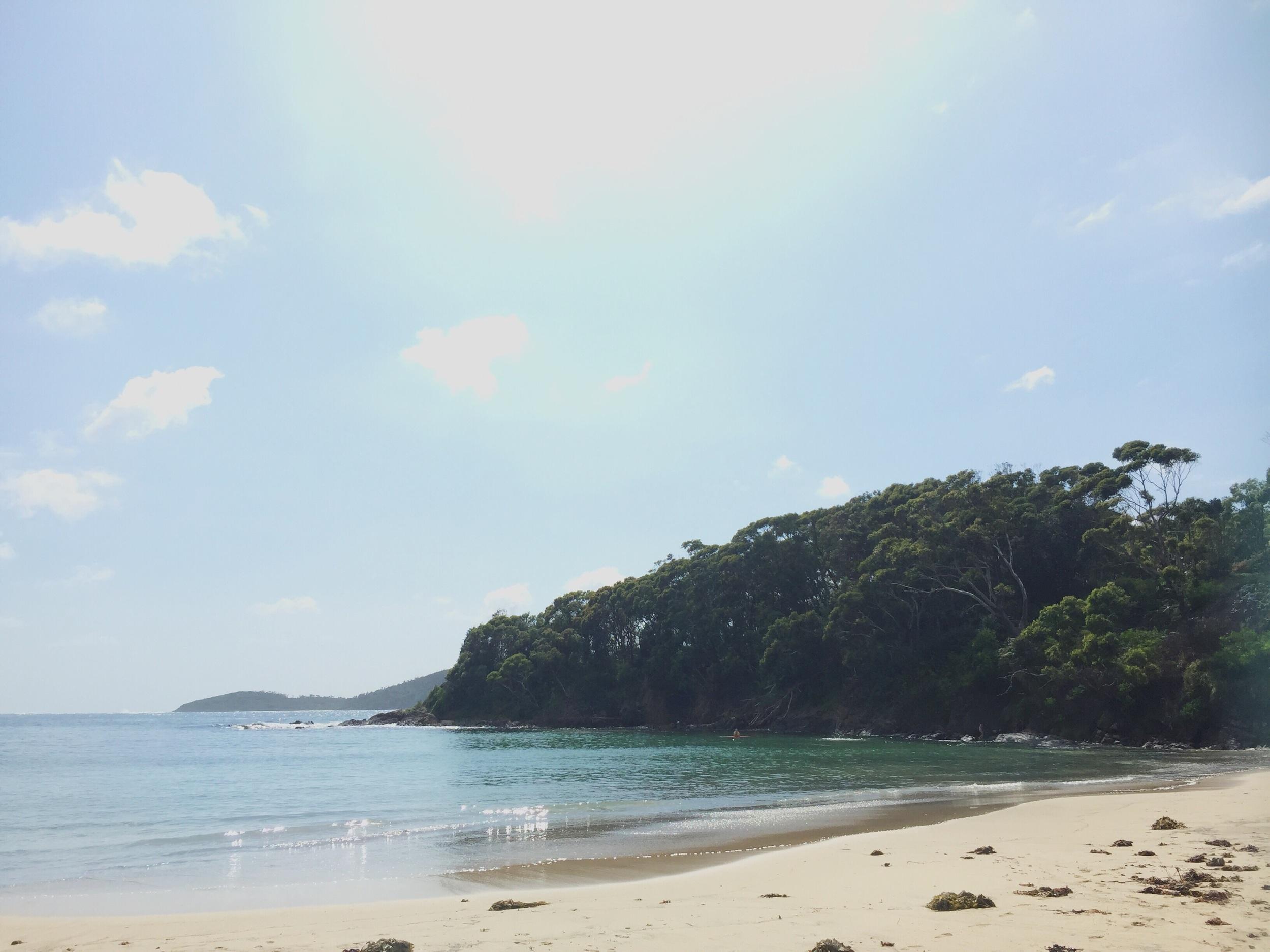 Calm waters at Fingal Bay beach
