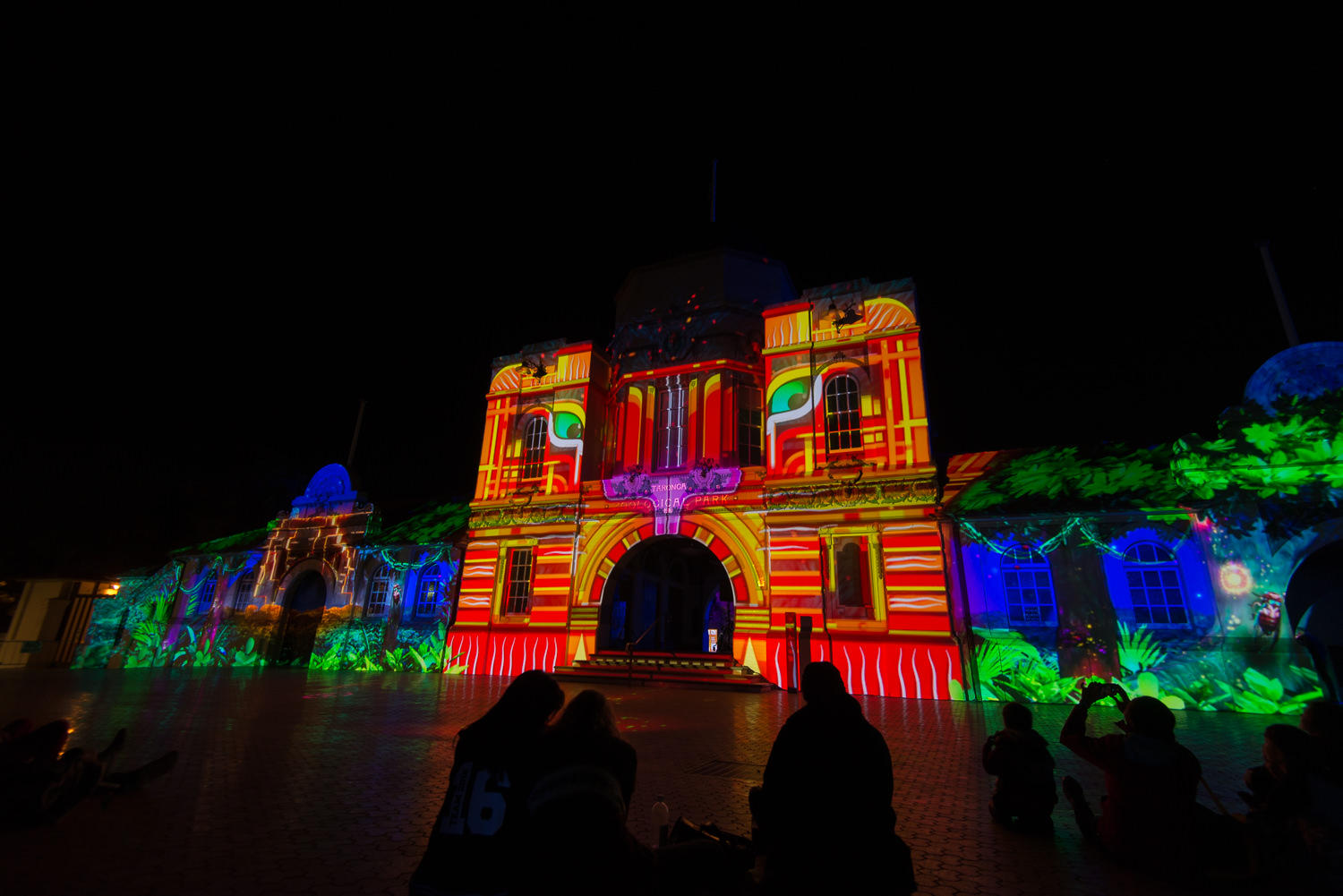 The light projection on the front of the buildings of Taronga Zoo during Vivid