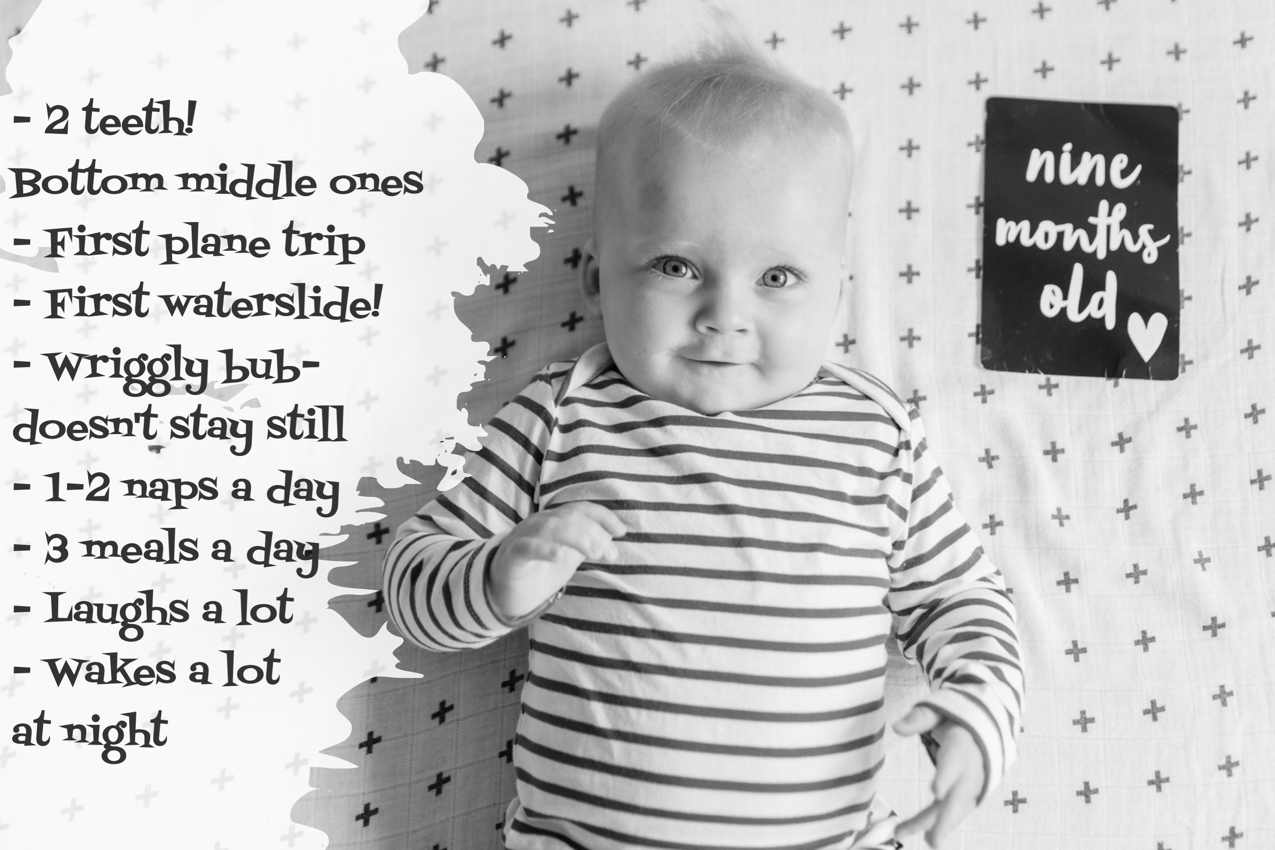 9 months old and a bruise on his forehead from leaning forwards while sitting and falling on the wooden floor