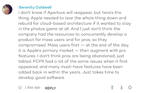 Comment on a related iMore article from  Serenity Caldwell .