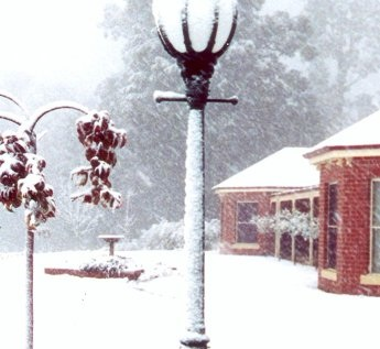 The hunting lodge in mid-winter.