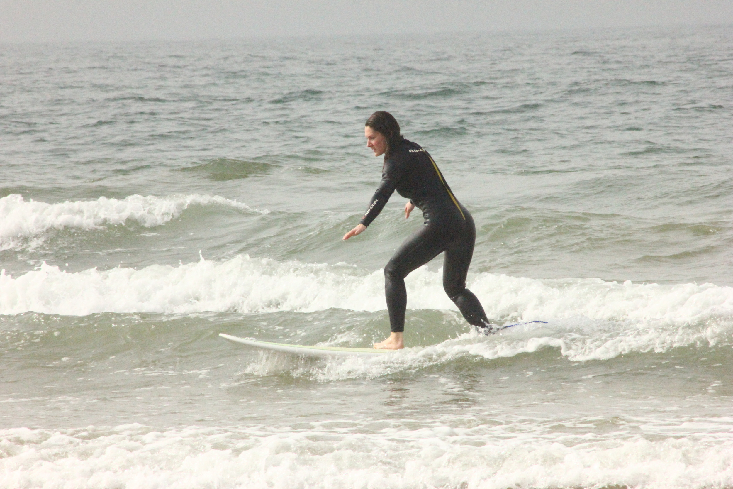 Ellie on a baby wave