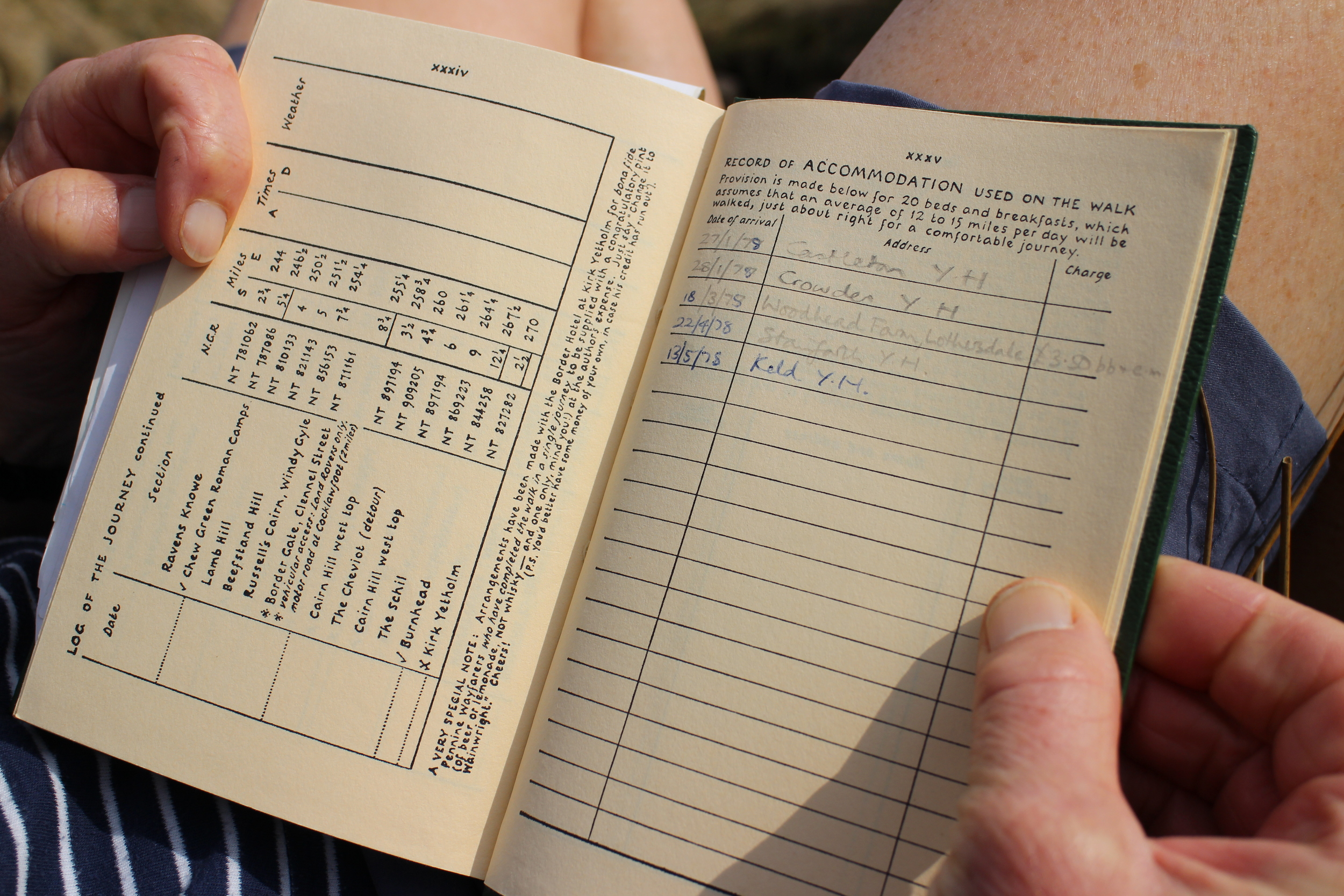 Sue's notes from her Pennine Way trip in theseventies