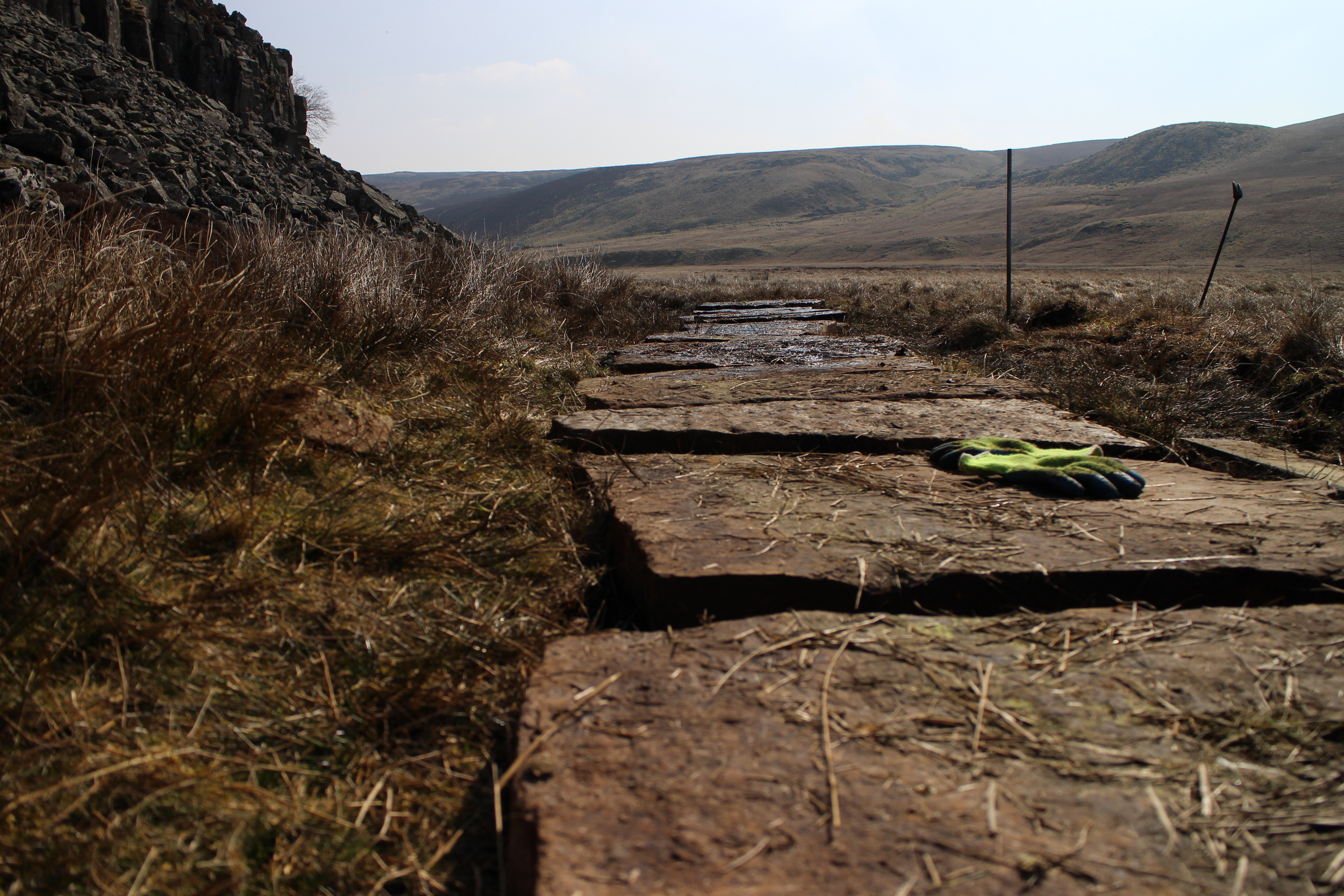 Stones from Lancashire Cotton Mills pave the boggiest areas