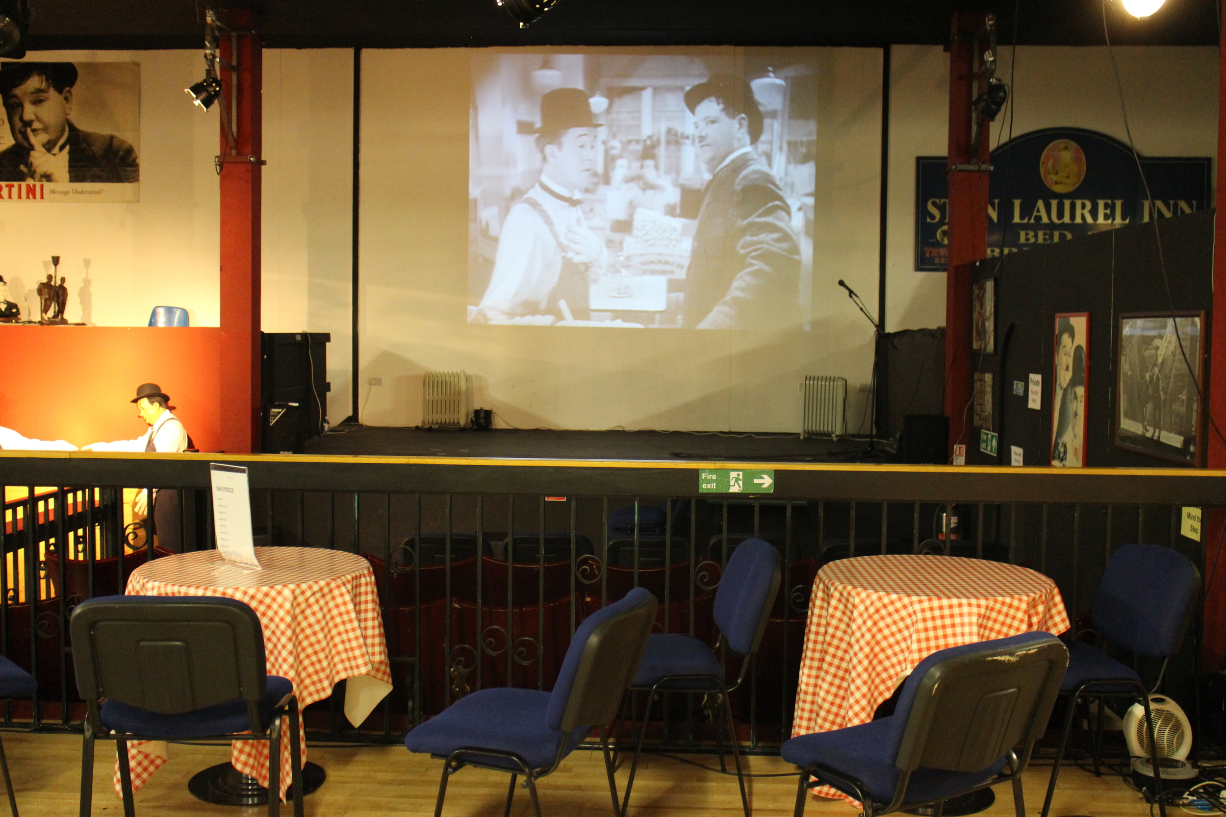 The Laurel and Hardy museum, housed in an old cinema, features a projector playing their films