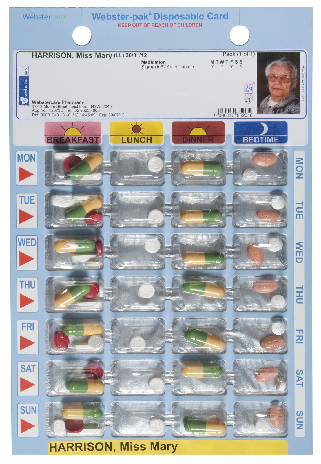 Cold Seal Disposable Blister Card - Multi-Pharma