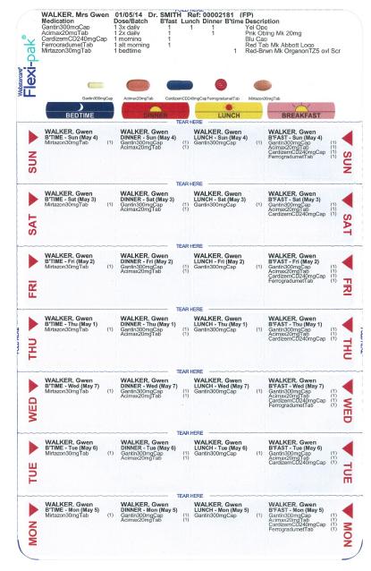 Blister Pack Back Example Multi-Pharma