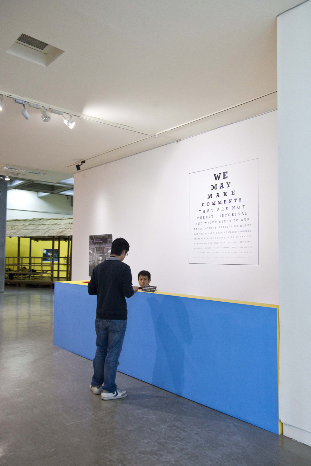 Cautionary Statement ,Carey Young,2007,Vinyl text ,Dimensions variable. Installation view at Taipei Biennale, 2010.