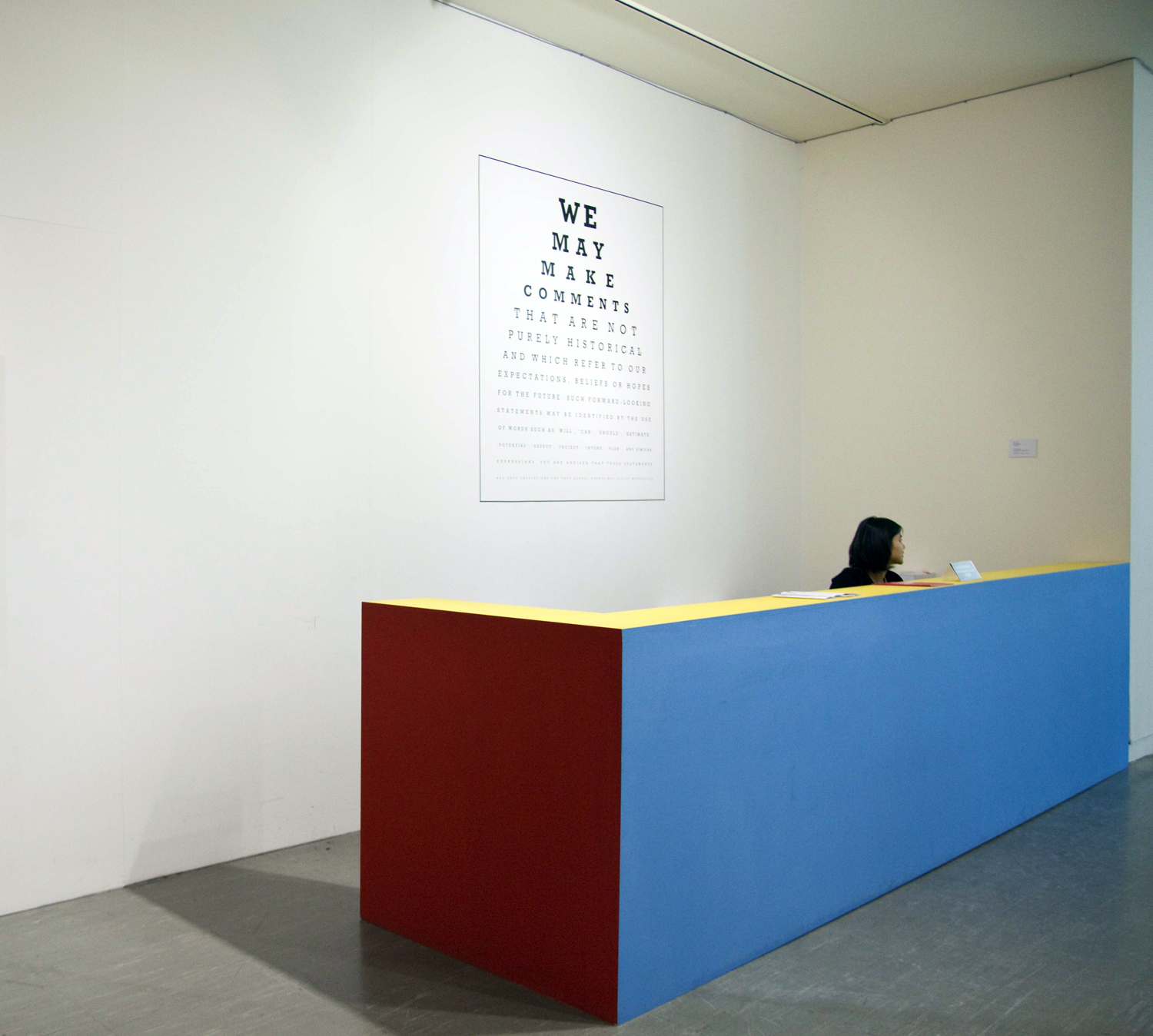 Cautionary Statement ,Carey Young,2007,Vinyl text ,Dimensions variable.Installation view at Taipei Biennale, 2010.