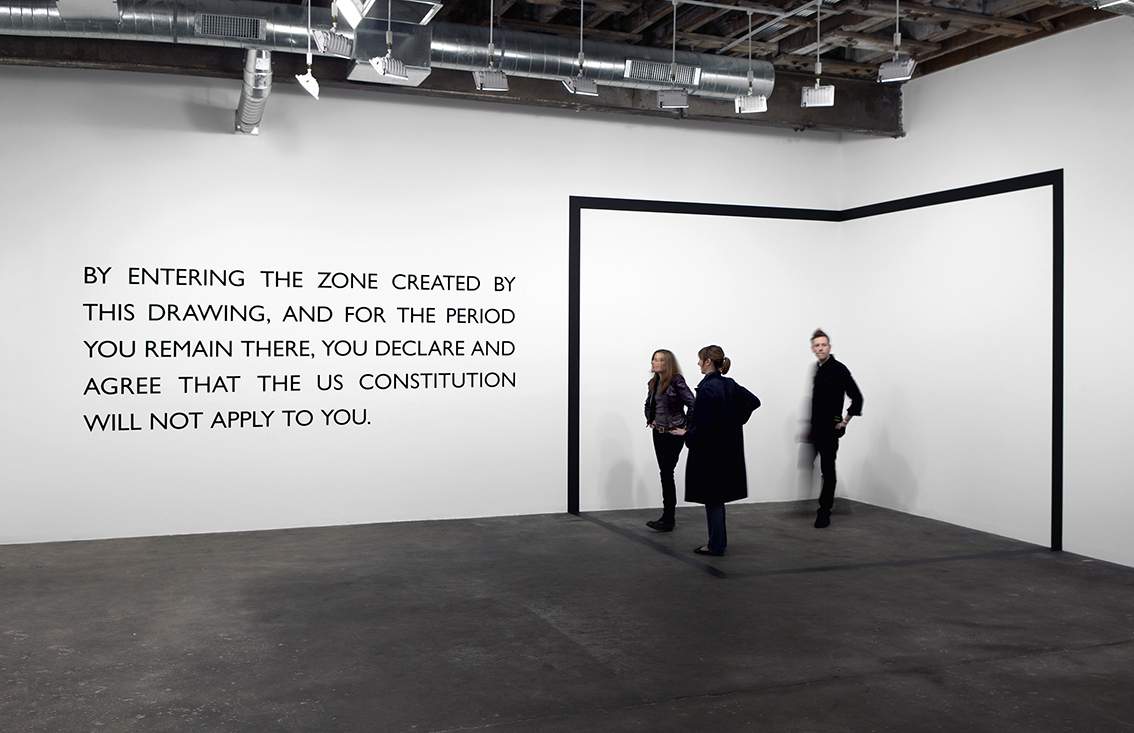 Carey Young  Declared Void,  2005 Vinyl drawing and text on wall 339.1 × 339.1 × 339.1 cm. (133 × 133 × 133 in.)