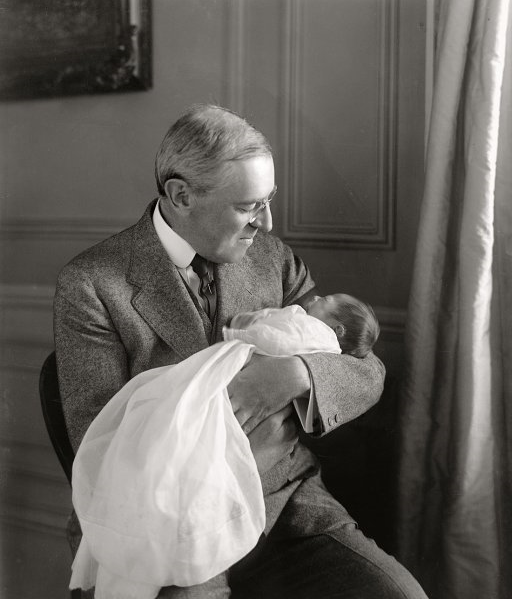 "President Woodrow Wilson with grandson Francis Sayre, born in the White House to Wilson's daughter, Jesse Woodrow Wilson, in January 1915. ""His face was wreathed in smiles for hours afterwards,"" according to press reports."