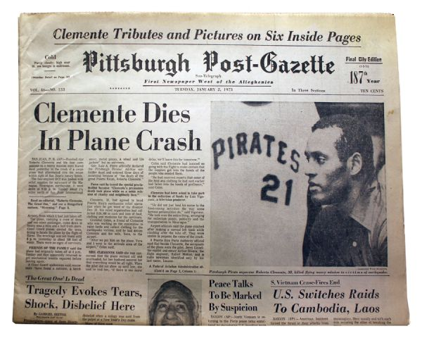 Roberto Clemente's plane crashed on the evening of December 31, 1972. Nixon was told about it by his appointments secretary Steve Bull on the morning of January 1, 1973.