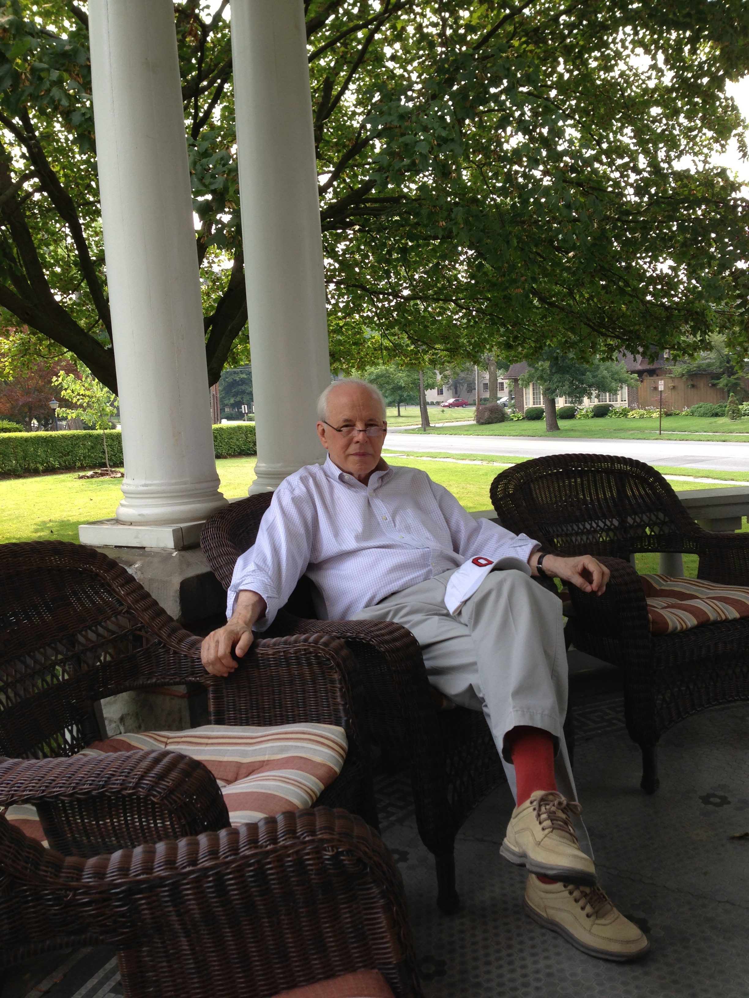 John Dean on Warren Harding's front porch in Marion, Ohio.  Dean lived in Marion and wrote a biography of Harding for Arthur Schlesinger, Jr., as part of The American Presidents Series.   Warren G. Harding  (New York, Times Books, 2004). This front porch hosted the last front porch campaign.  Two Ohioans, Harding and James Cox, ran against each other in 1920 for the presidency.  Harding won in a landslide.  Cox's vice presidential candidate, Franklin D. Roosevelt, would go on to win the presidency four times.