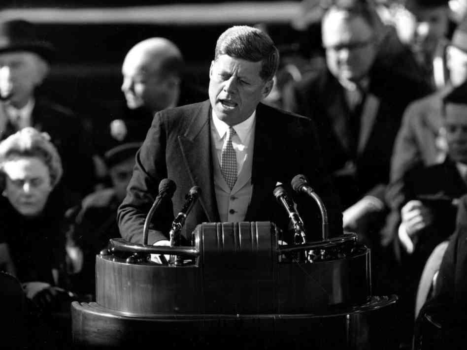 """Nixon will take deliberate aim at JFK's inaugural """"ask not"""" line."""
