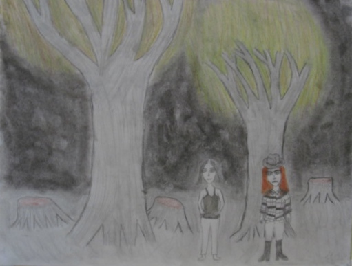 [Untitled]  2013. Charcoal, graphite, colored pencil, and white sketching paper.