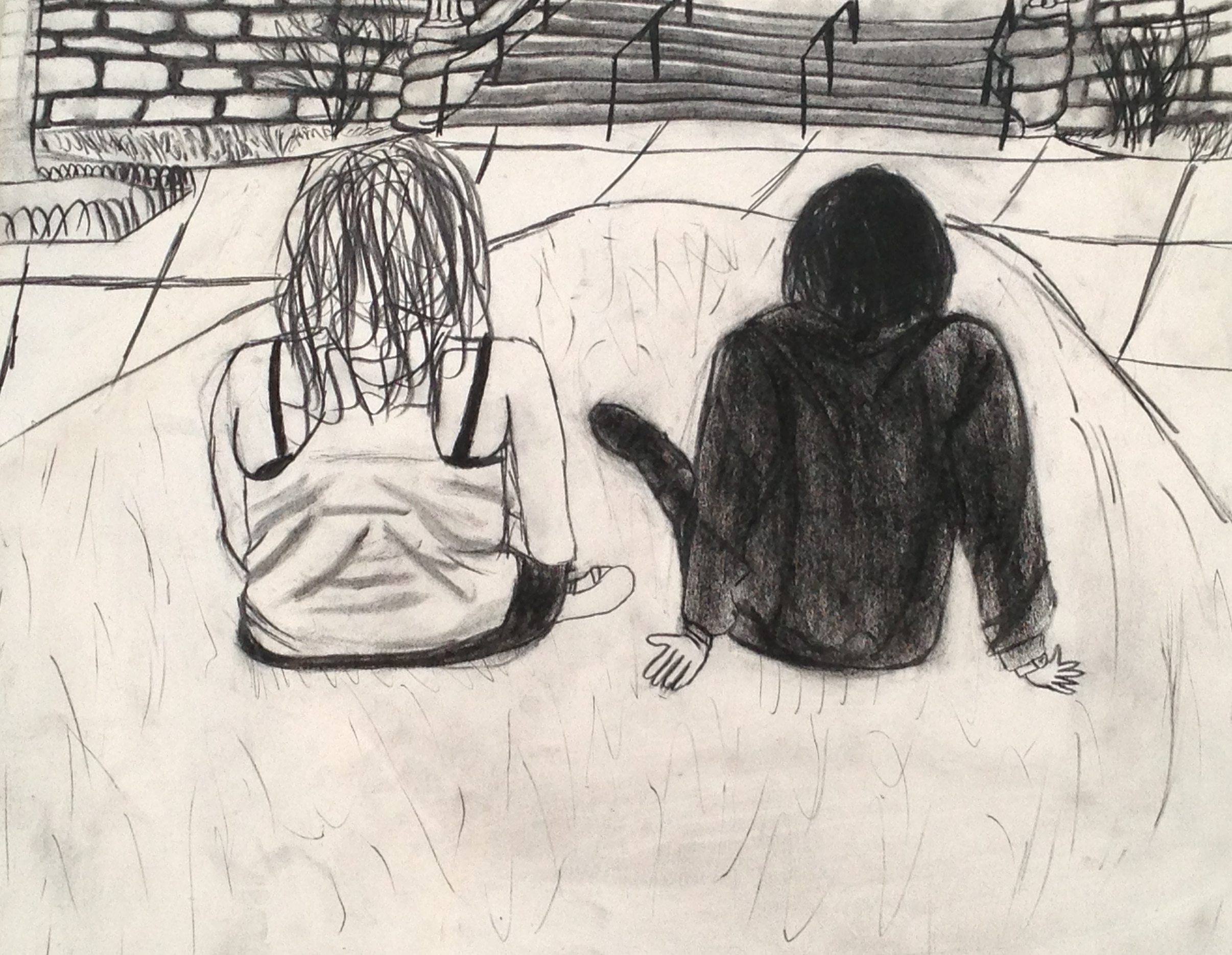 Chilling with a Friend  2013. Charcoal, conte crayon, and newsprint paper.