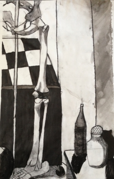 It's Coming (and You Can't ignore It) 2013. Charcoal, water, conte crayon, ink and white drawing paper.