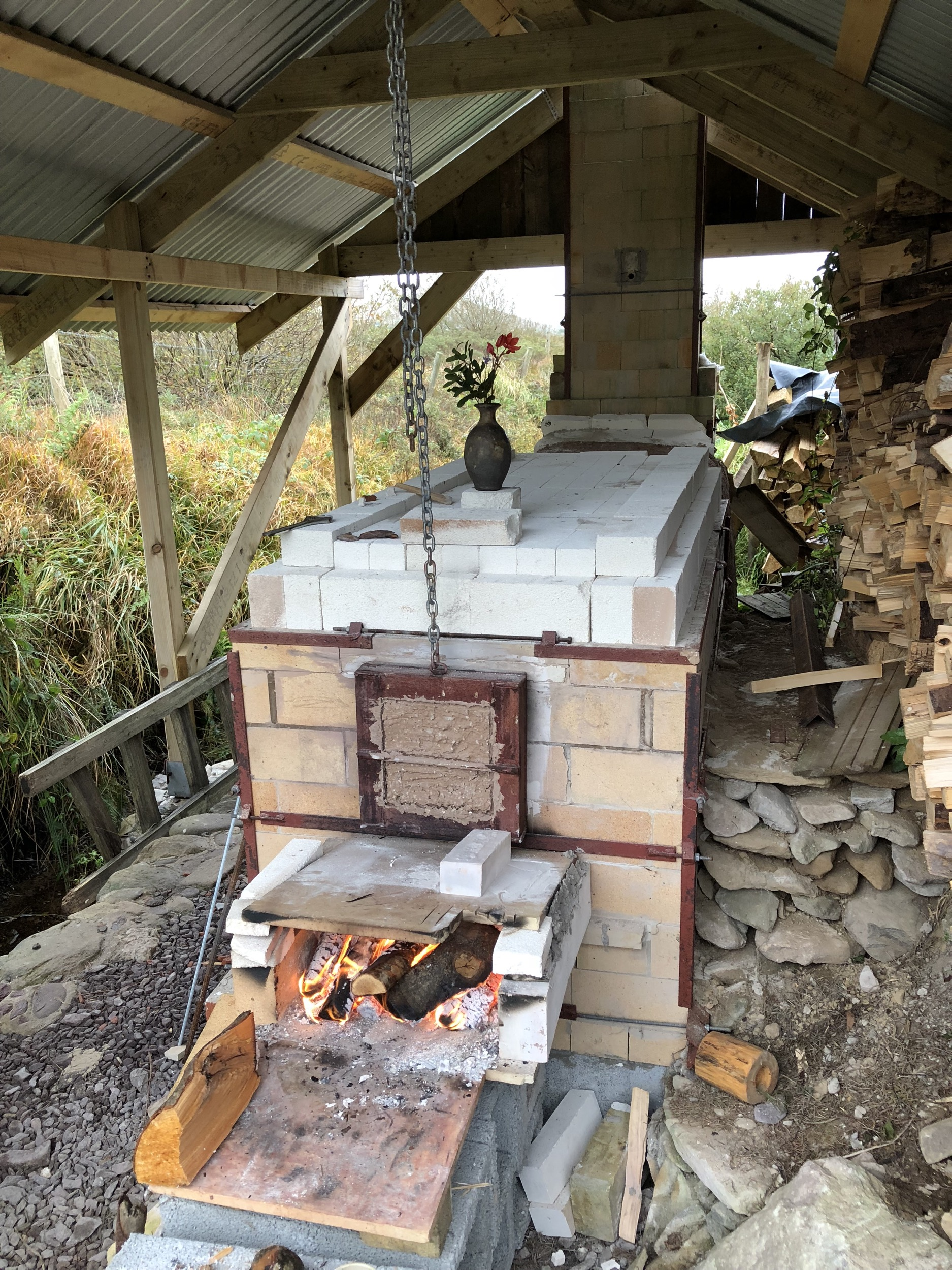 Firing a wood fired kiln Glin North Dingle Co. Kerry 2018