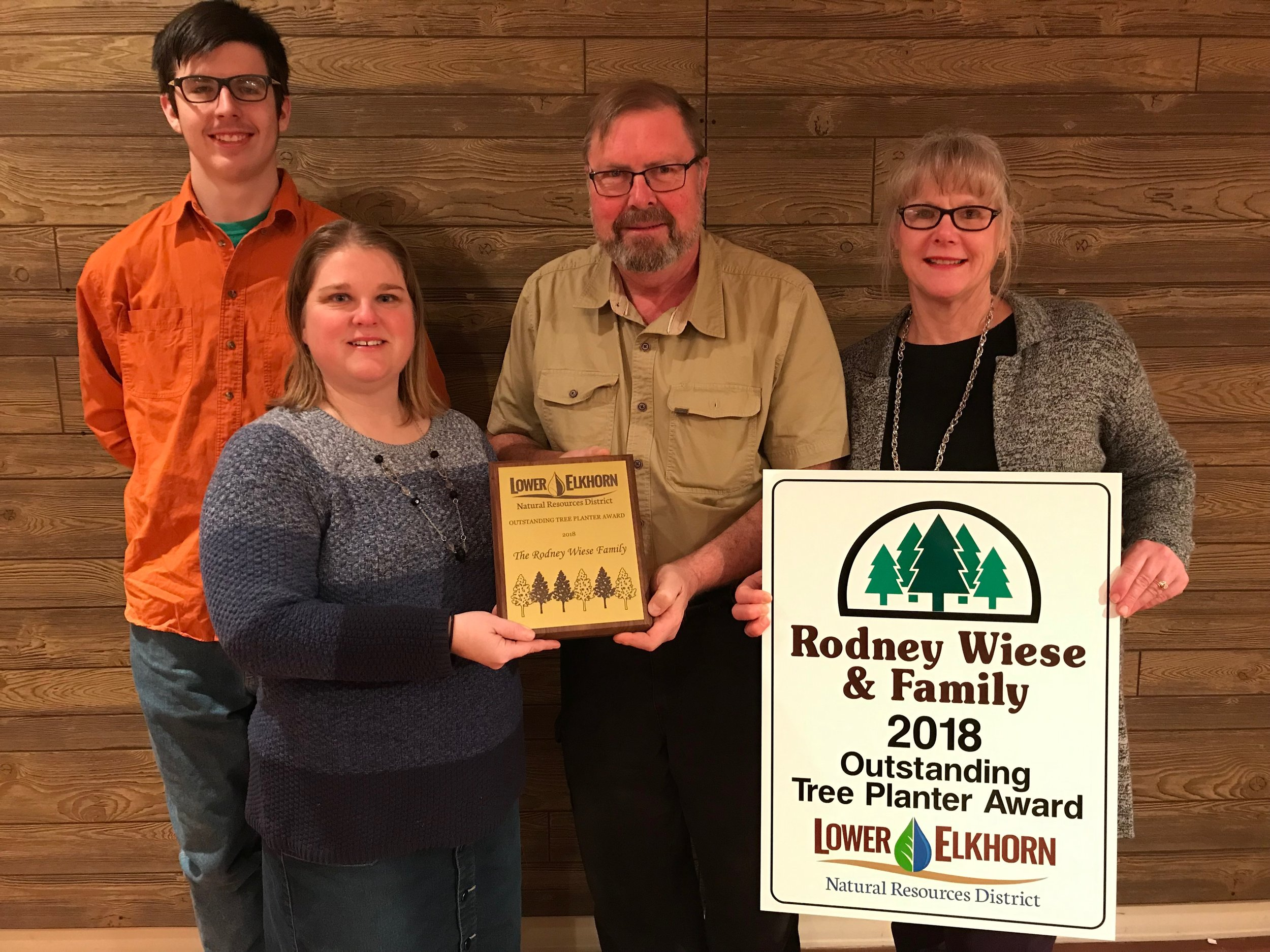 (Photo – from left to right: Andrew Wiese; LENRD Forester, Pam Bergstrom; Rodney Wiese; and Joan Wiese).