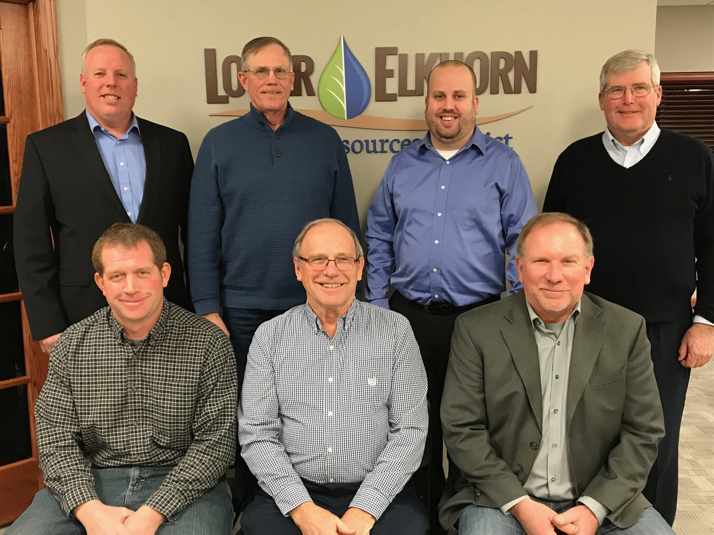 The board also elected officers for 2019. Pictured here is the Executive Board: (back row, from left to right): Joel Hansen, Wayne, Nebraska Association of Resources Districts (NARD) Alternate; Dennis Schultz, Wisner, Past-Chairman; Scott McHenry, Norfolk, NARD Delegate; David Kathol, Norfolk, Treasurer. (Front row, from left to right): Matt Steffen, West Point, Secretary; Gary Loftis, Craig, Chairman; and Kurt Janke, Wayne, Vice-Chairman.
