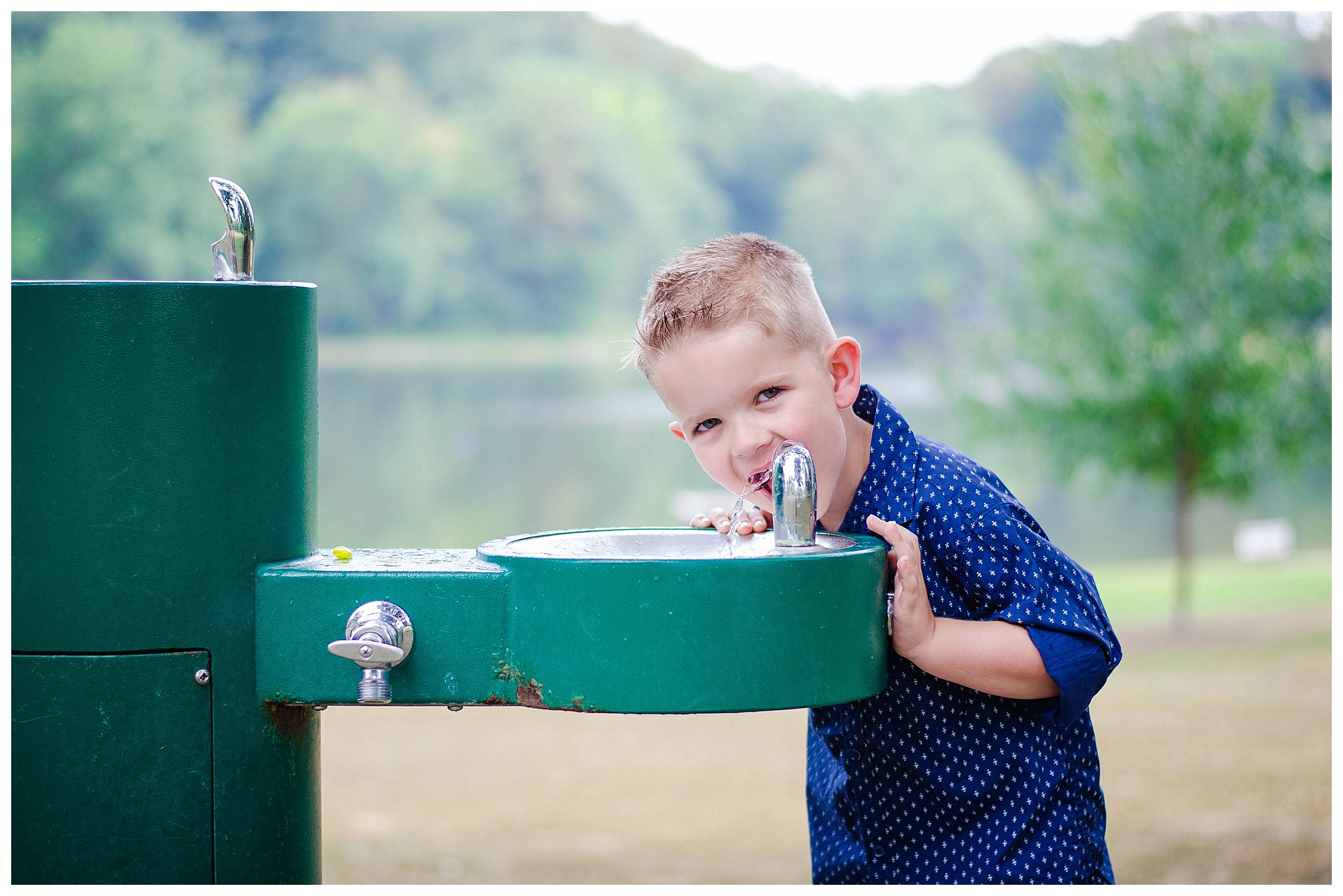 Seriously kid? Even make drinking out of the fountain adorable! :)