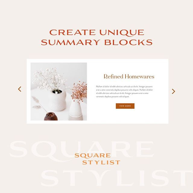 This mini course on the @squarestylist  shop is filled with a ton of Squarespace tricks to stylize carousel summary blocks on #squarespace. ✨ Customize fonts and buttons ✨ Place thumbnail to the left or right of the content ✨ Auto transition slides ✨ Enable swipe on mobile  The course is hosted on @teachable  to make it easier for you to understand how the codes work.  #squarespacedesigner #squarestylist #squarespace #fwportfolio #creativeladycollective  Use the code SQSTYLIST10 for a 10% discount :)