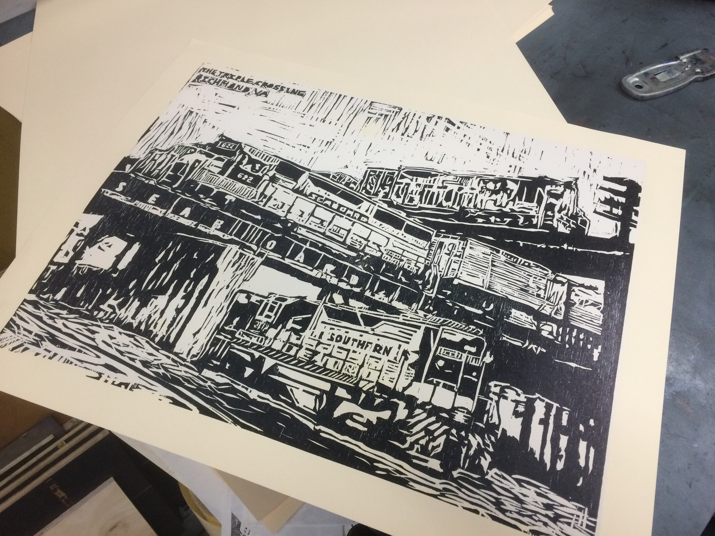 """Woodcut 16 x 20"""" 2015 Edition of 30  Letterpress printed woodcut depicting the triple crossing in Richmond, VA — the only place in the North America where three trains might cross paths at the same time."""