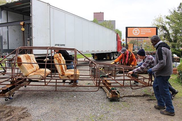 Since the closing of #TheSocratesAnnual18 me & @audrey_snyder have been souping-up our project 'Into the ground' for a ride out west. The newly reconfigured  work (now with interior seating 😏) is on its way to #TheBowtieProject via @clockshopla for an opening on May 18, 6-8p.⠀ ⠀ Enormous thanks to the fine folks of @socratespark for helping to make possible this exchange (@beatrizcortezflores beautiful work recently at the Bowtie is now on display at Socrates — go see it!) and huge shout out to @danvondan @chrisyockey Mateo, Ken, and all the rest of the Spacetime studio crew for helping out with the heavy lifting of getting this show on the road. ⠀ 'Into the ground' will be parked in the former Southern Pacific Taylor Yard, now a California state park, through September. LA fam: come join us for the opening!