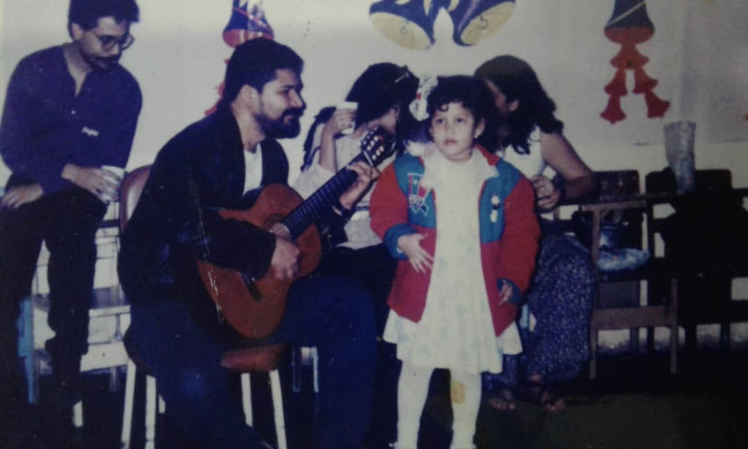 Singing with my father Fernando Brea at age 4