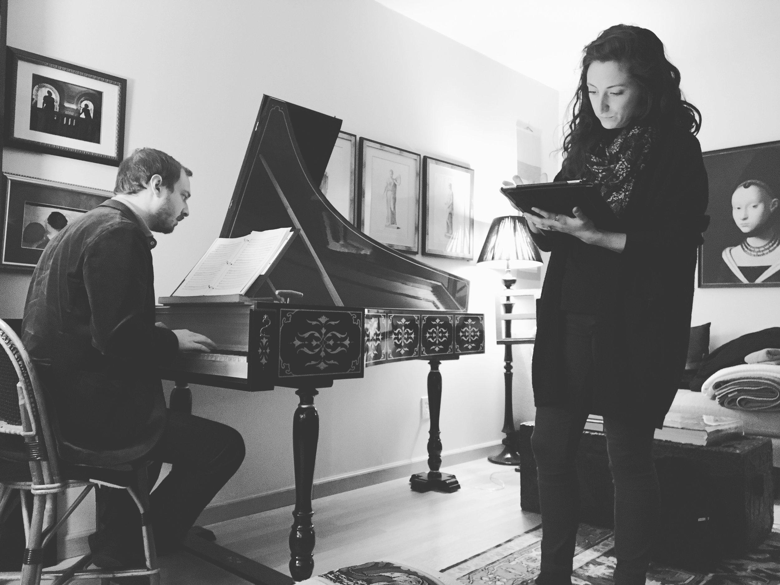 Heather rehearsing with harpsichordist Dylan Sauerwald. Photo credit: Joyce Yin