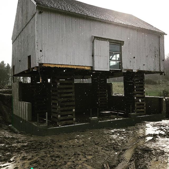 After sorting out some ground water and playing in the mud for a bit we are close to putting the barn back down! #377builders.com