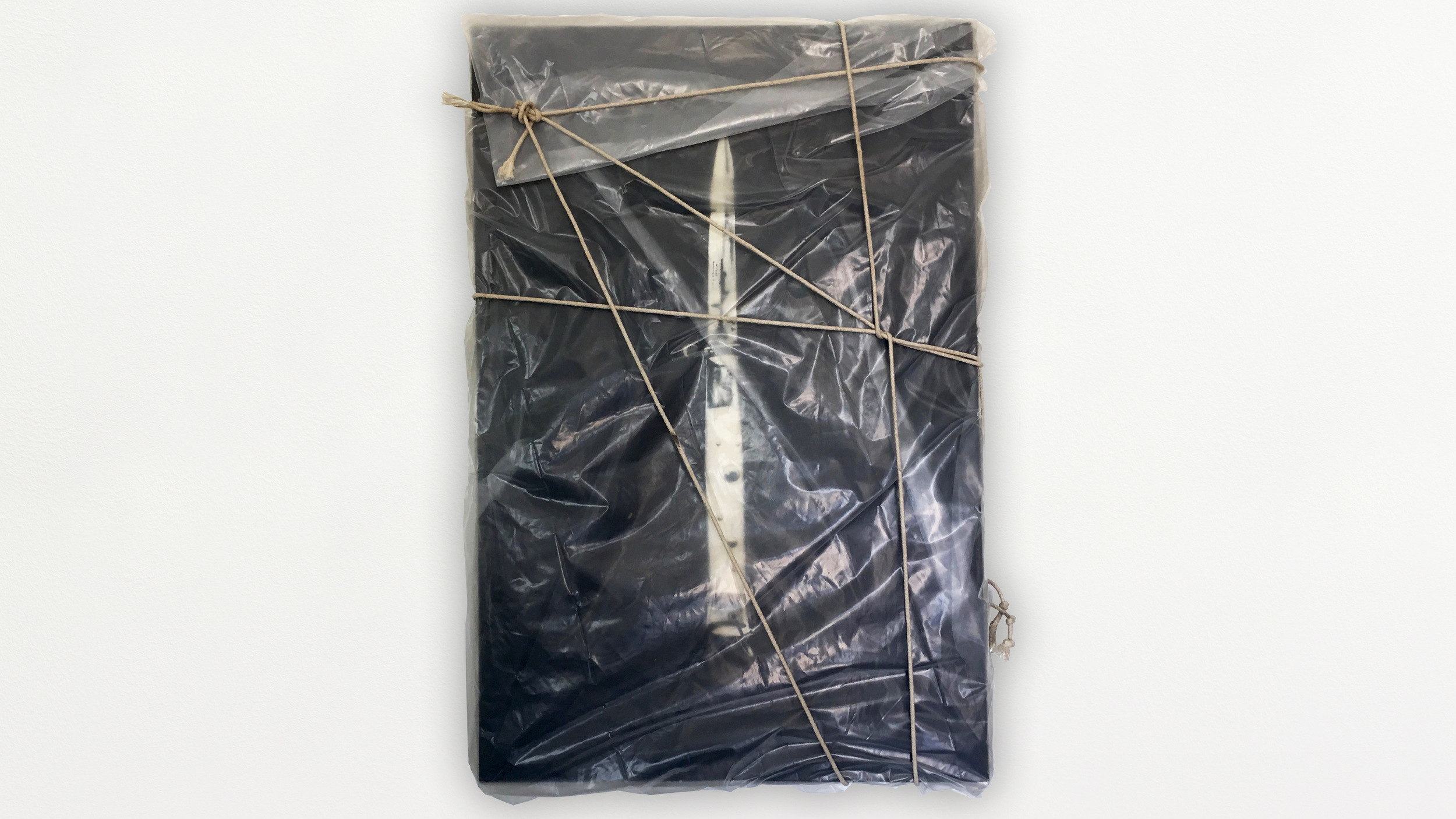 WRAPPED KNIFE INSTALLATION - oil on canvas, visqueen, rope - 25x30