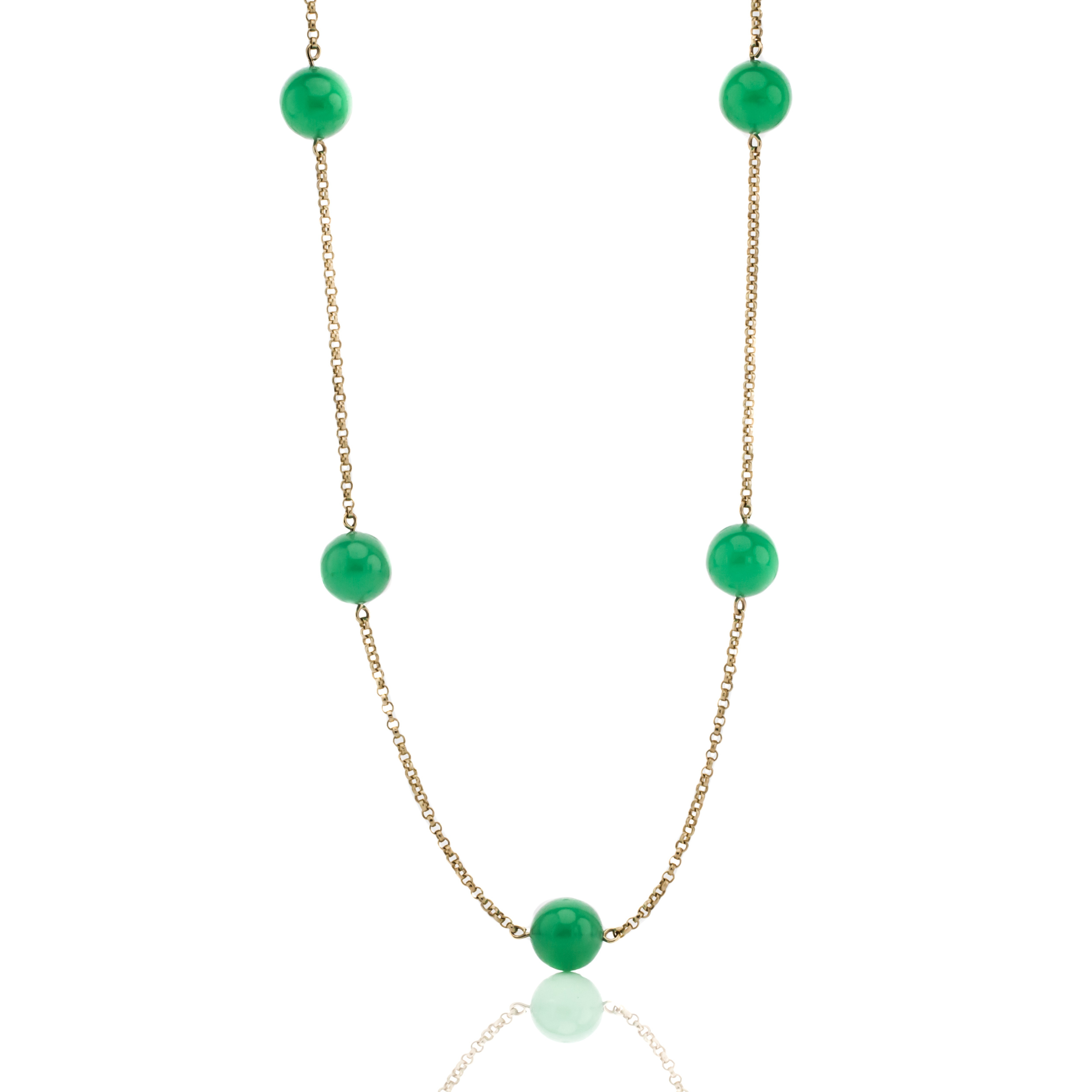 CHRYSOPRASE AND 18KY STATION NECKLACE