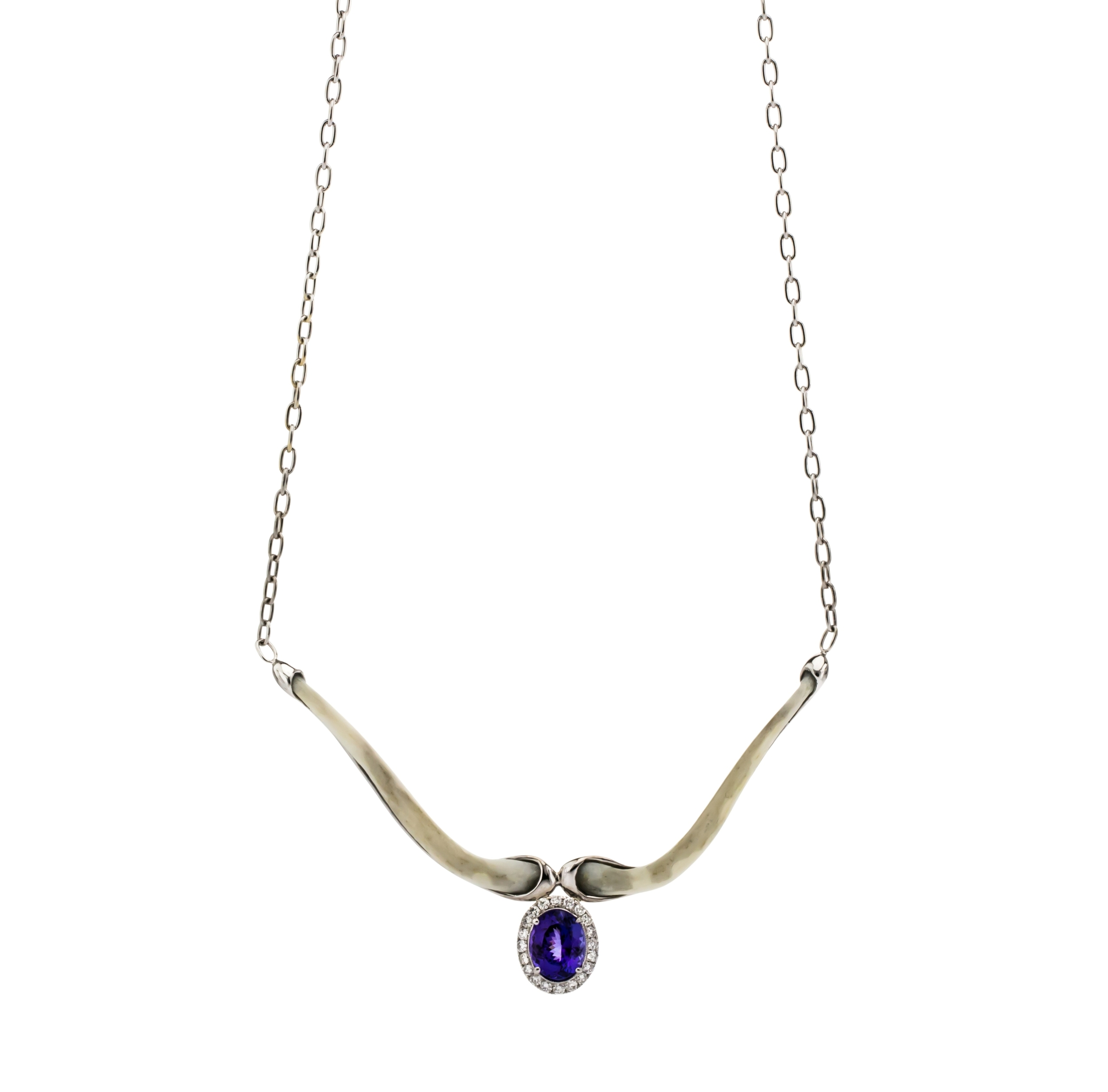 CUSTOM TANZANITE AND DIAMOND FLOATING BONE NECKLACE