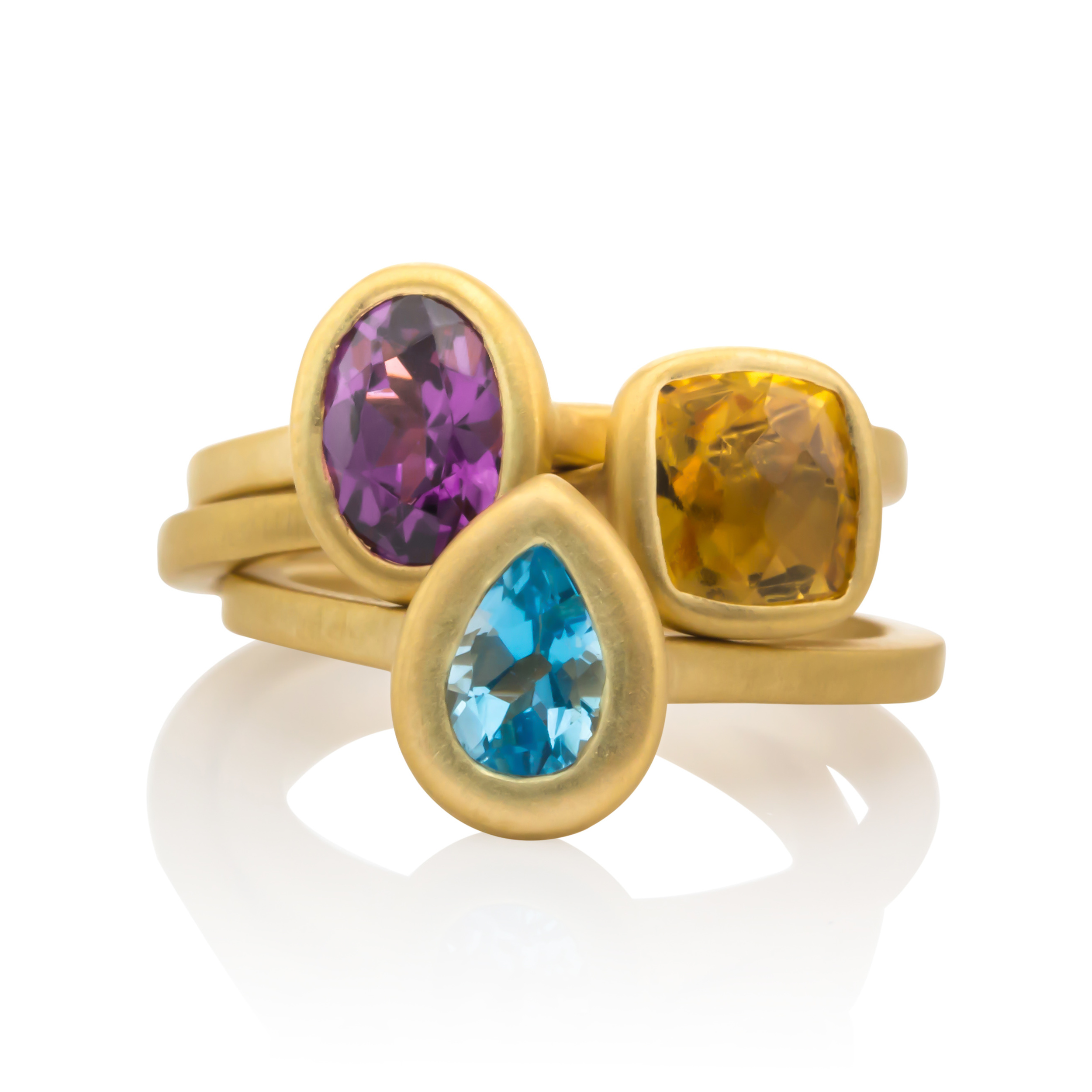 CUSTOM AMETHYST, CITRINE AND BLUE TOPAZ BEZEL SET STACKING RINGS designed to include our client's children's birthstones.