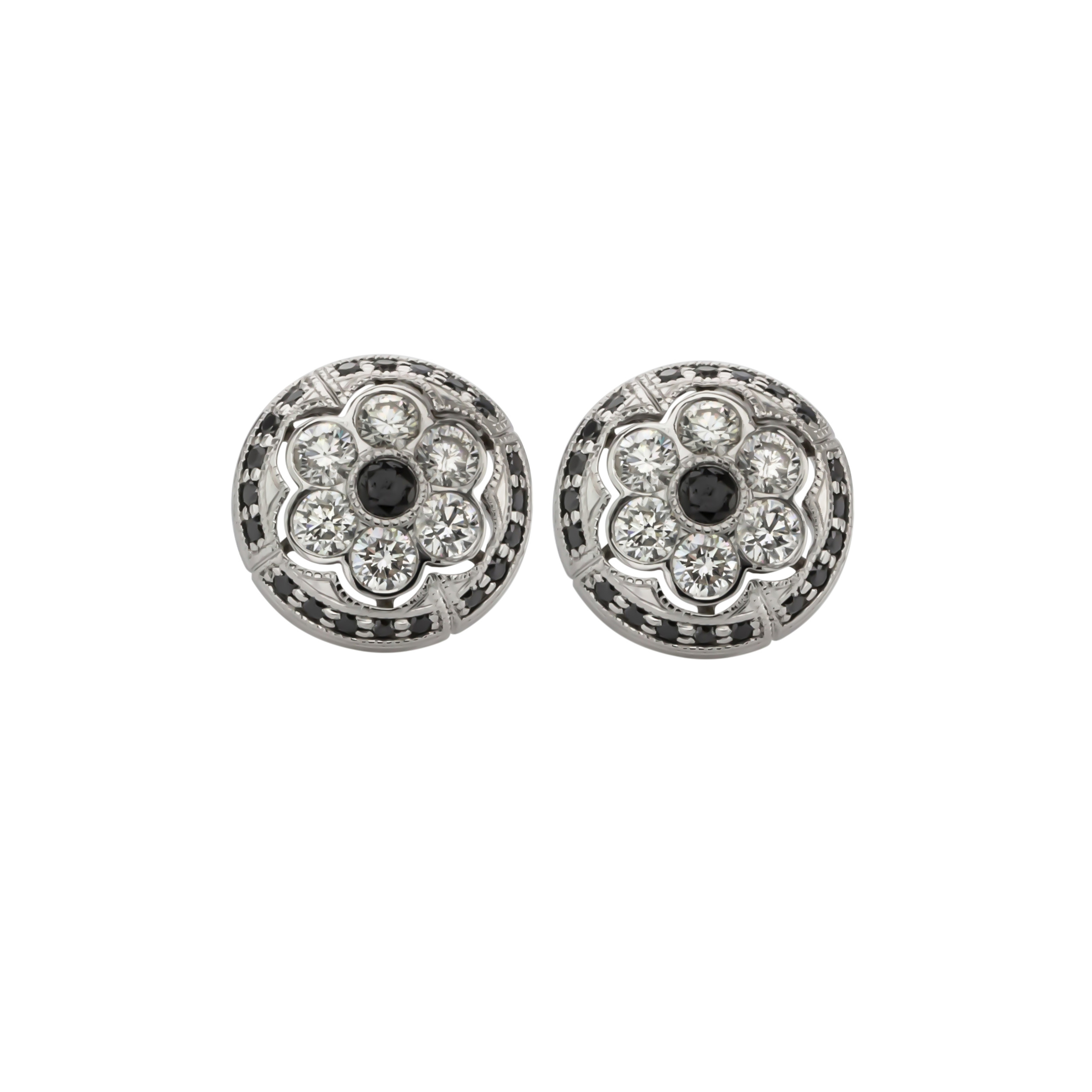 CUSTOM BLACK AND WHITE DIAMOND EARRINGS inspired and designed to replace our client's favorite pair of fashion earrings.
