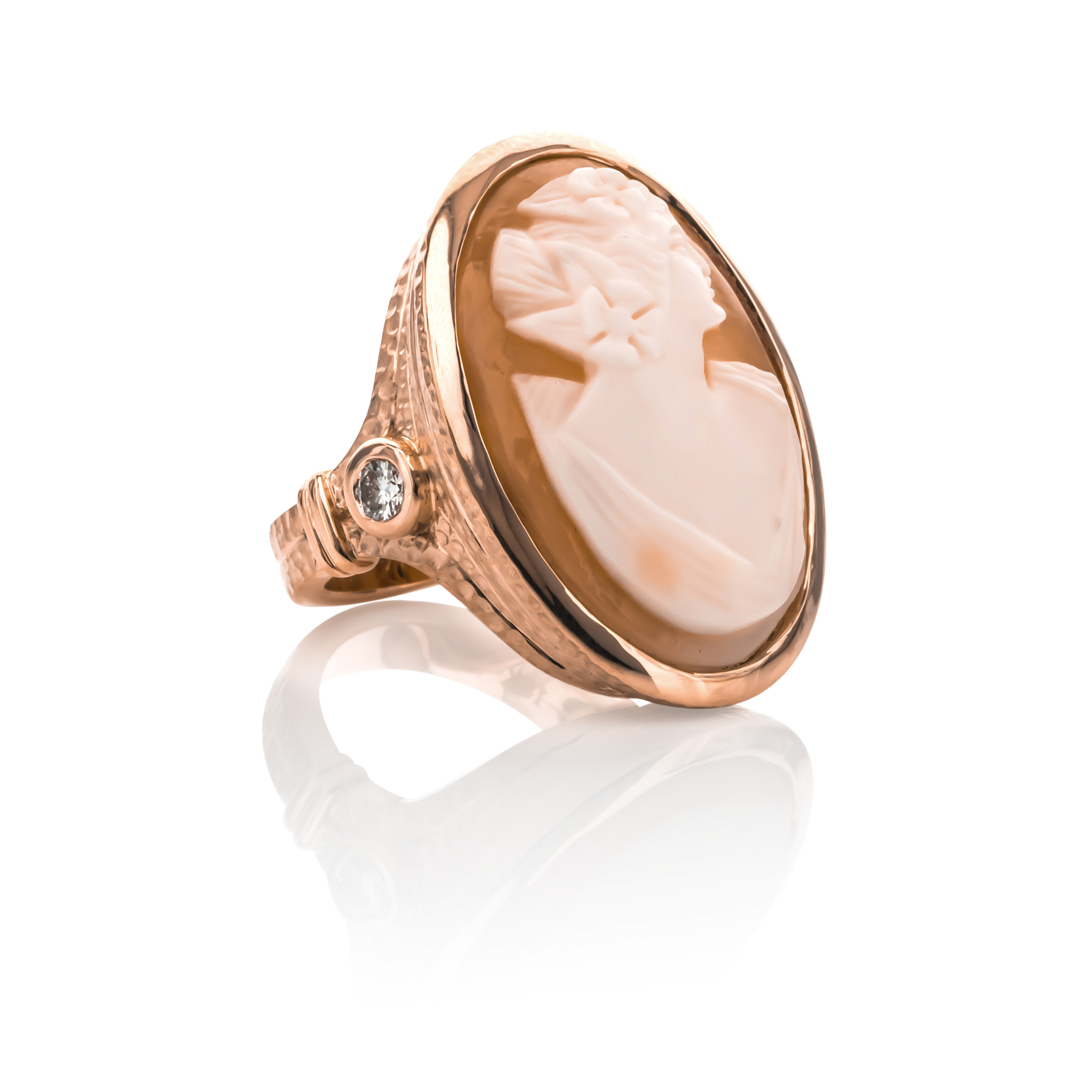 CUSTOM CAMEO AND DIAMOND ROSE GOLD RING redesigned using our client's cameo brooch.